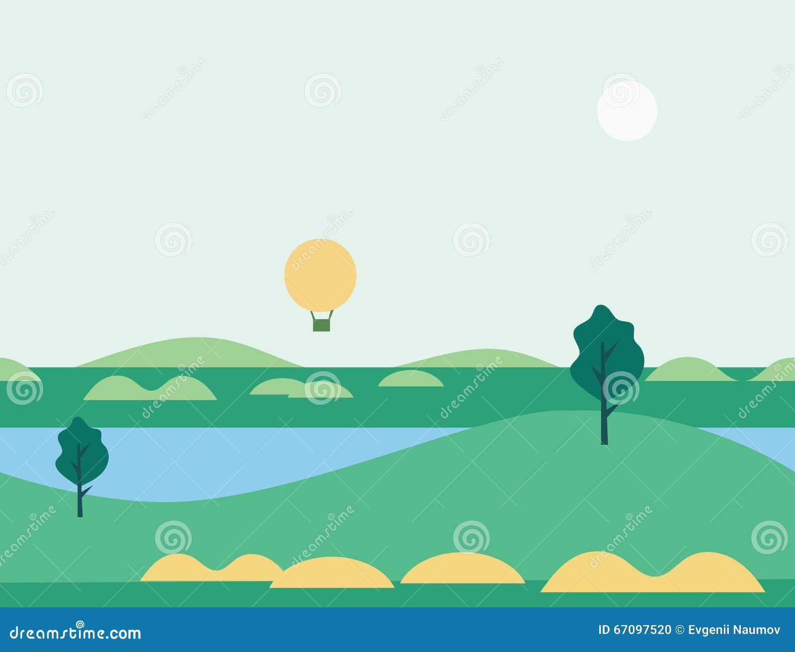 Landscape Illustration Vector Free: Seamless Cartoon Nature Landscape With Balloon, Vector
