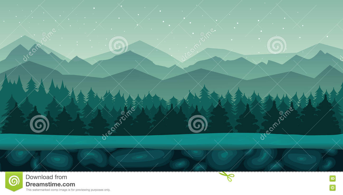 Landscape Illustration Vector Free: Seamless Cartoon Nature Landscape With 2d Game Application