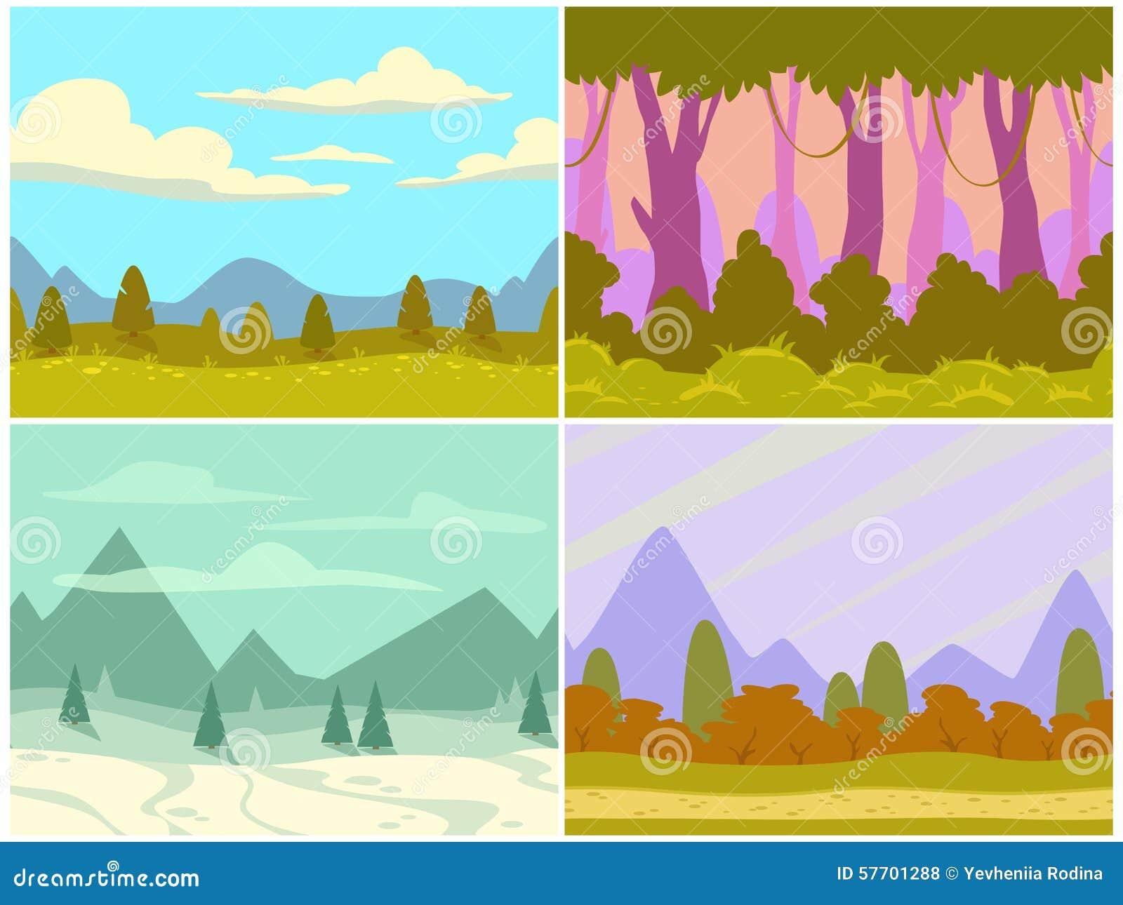 Seamless Cartoon Nature Landscapes Stock Illustration