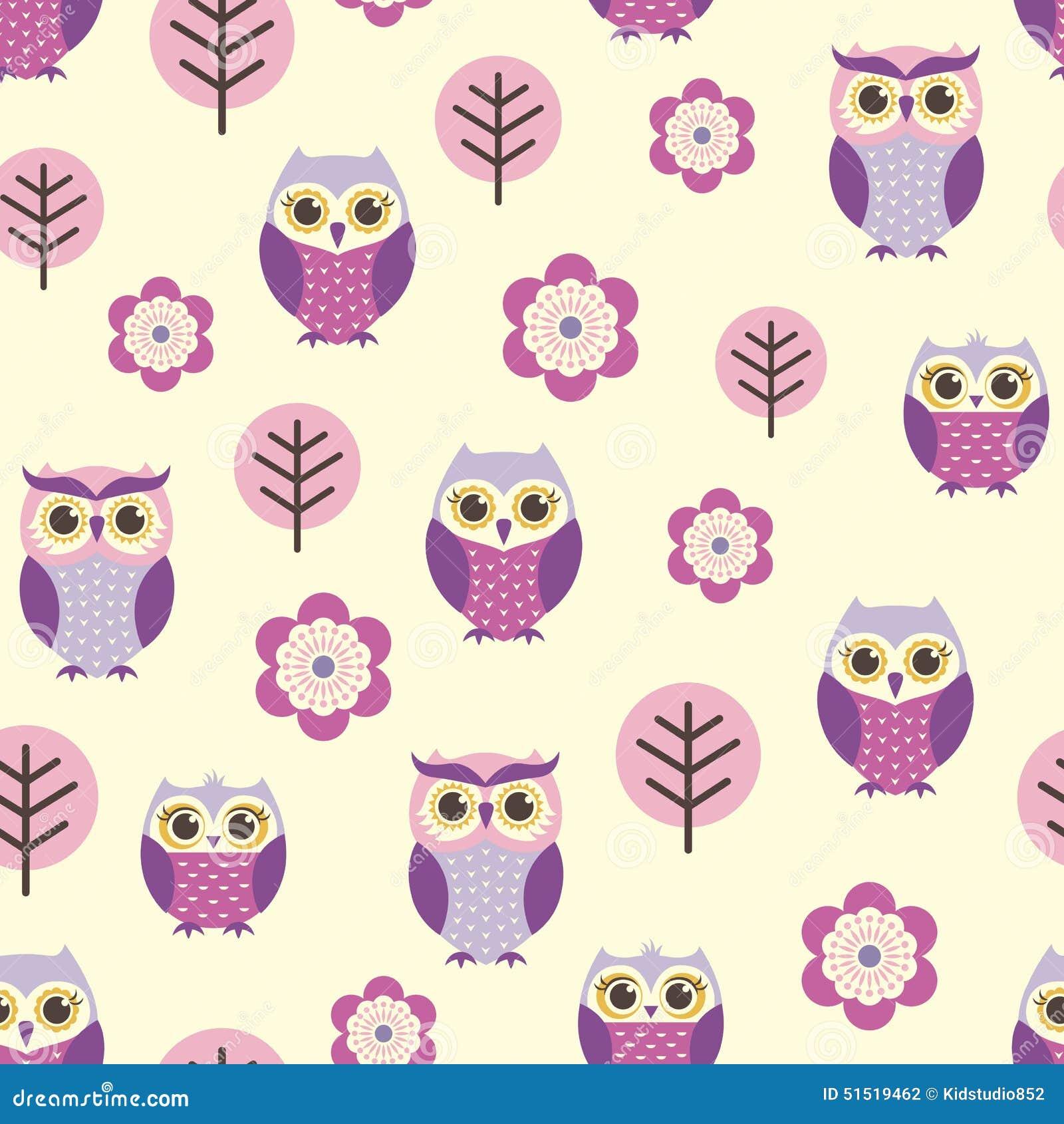 Seamless Cartoon Owls Pattern Stock Vector - Image: 51519462