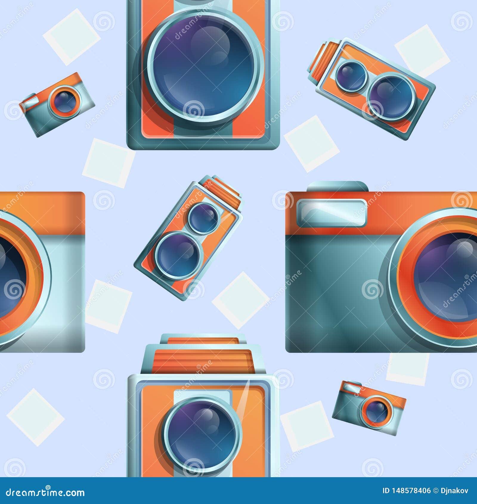 Seamless cartoon phot on the theme of vintage cameras
