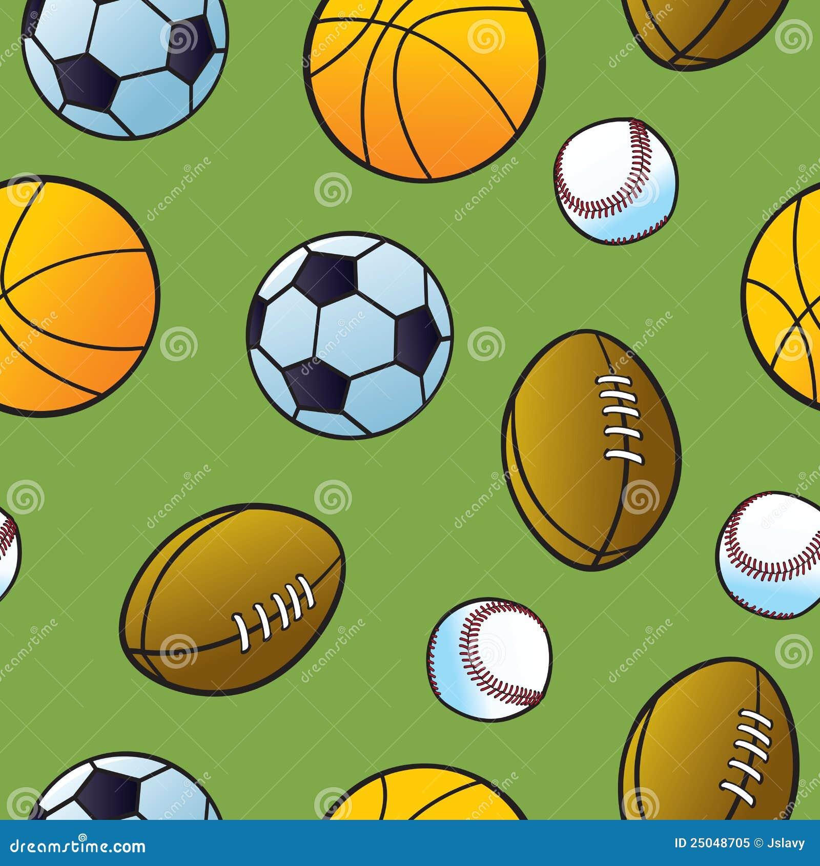 Seamless Cartoon Sports Ball Pattern Stock Vector