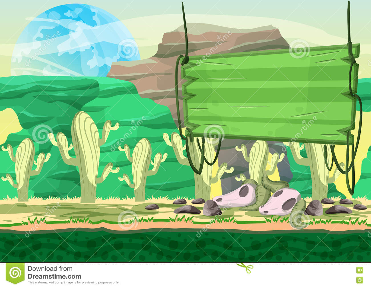 Seamless Cartoon Vector Desert Background With Separated Layers