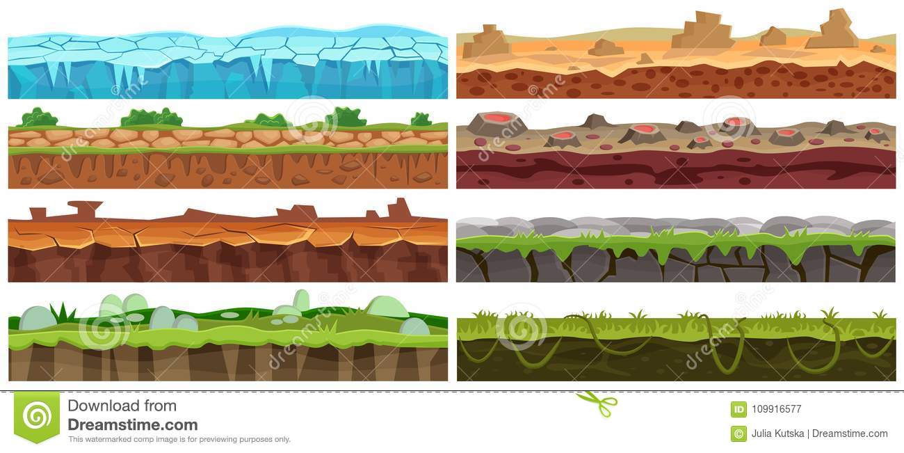 Seamless cartoon vector landscape design set. Ground floor collection for game interface.