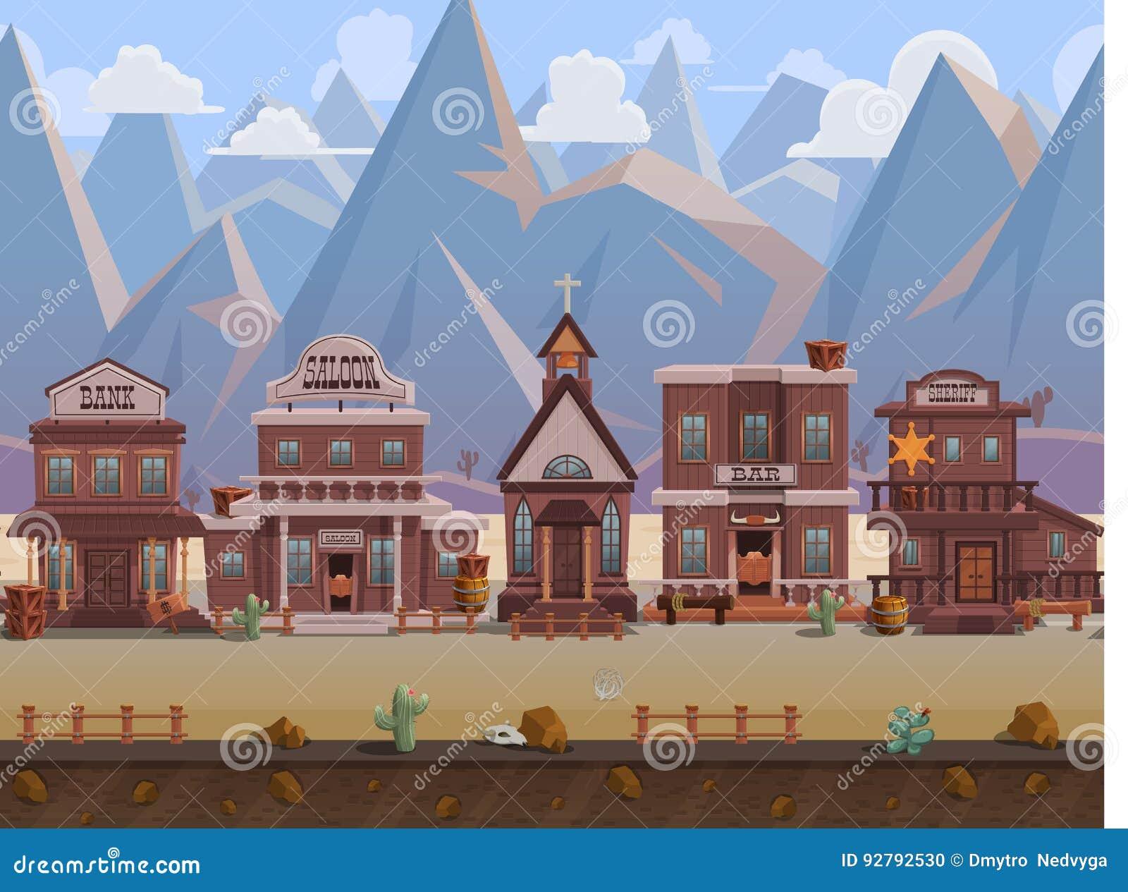 Town Landscape Vector Illustration: Seamless Cartoon Wild West Town, Western Landscape, Vector
