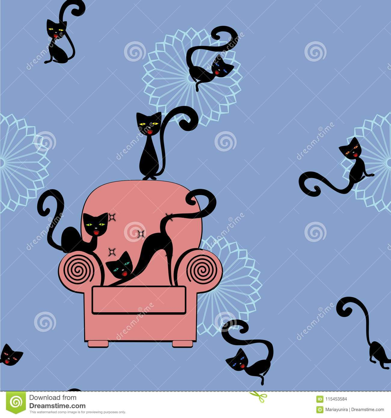 Seamless Cat Wallpaper Pattern Stock Illustration Illustration Of