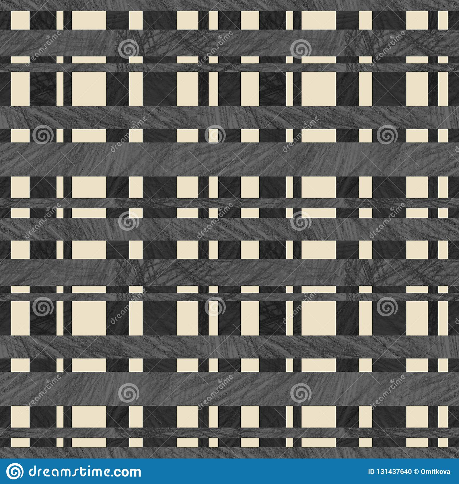Seamless checkered decor textured with color pencil handdrawing suitable for wallpaper background backdrop packaging