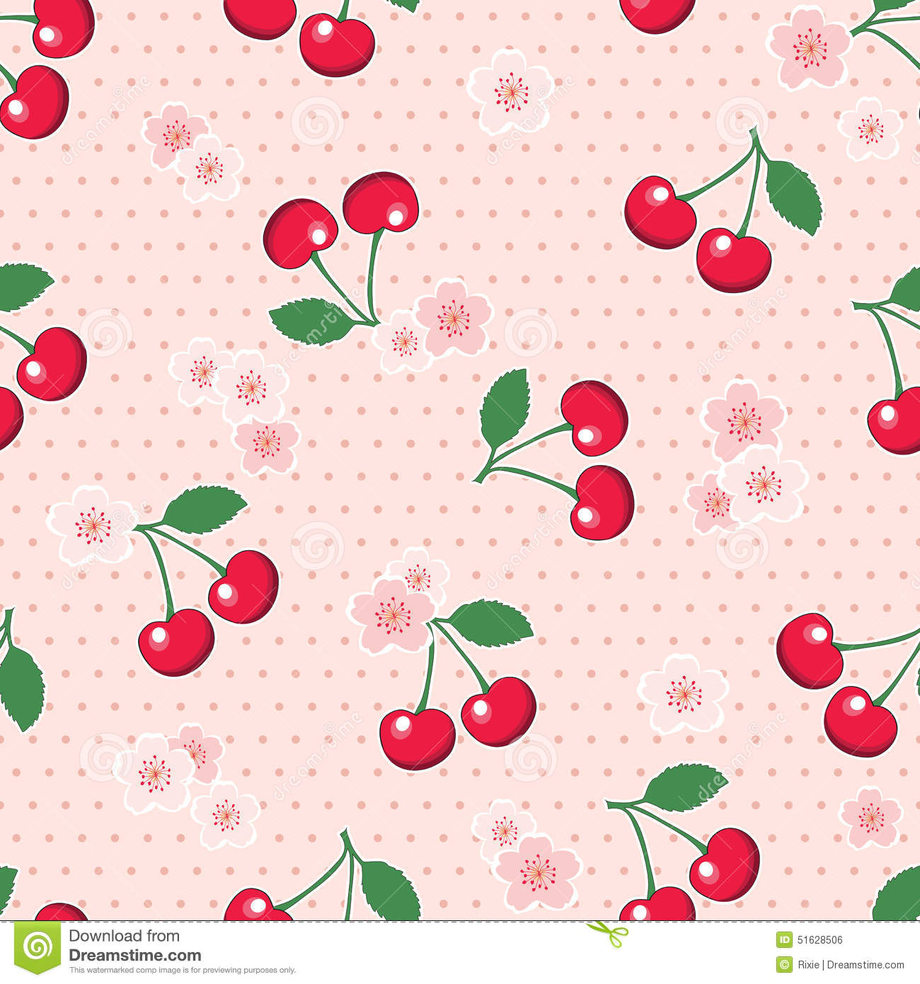 Seamless Cherries And Blossom On Polka Dot Background Stock Vector - Image: 5...