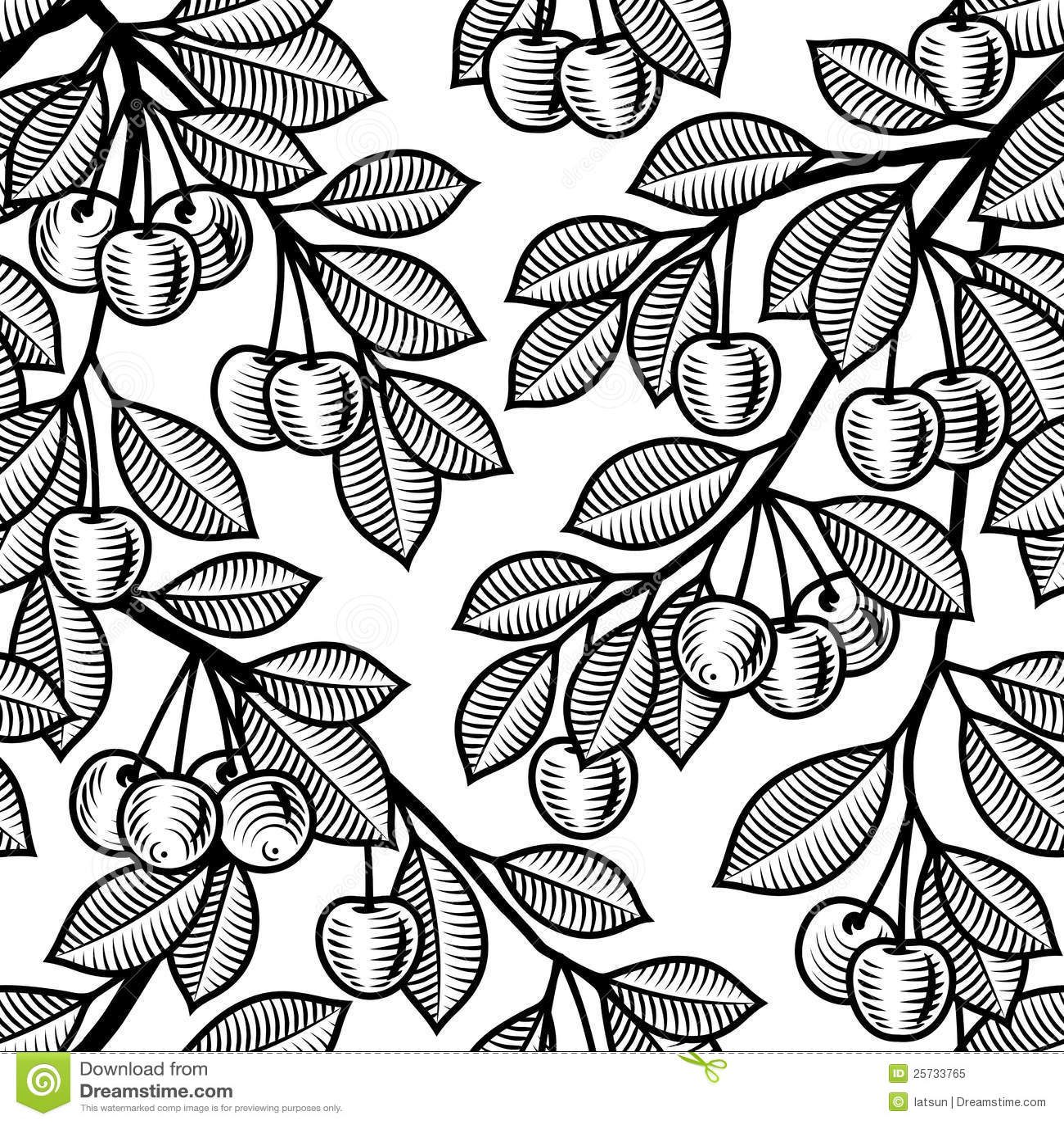 Seamless cherry background black and white