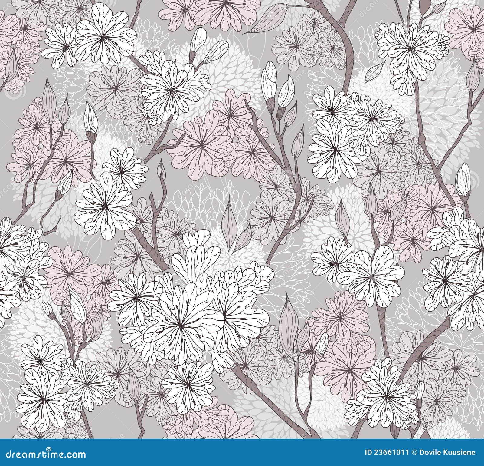 Cherry Blossom Flower Stencil: Seamless Cherry Blossom Flowers Pattern Stock Image