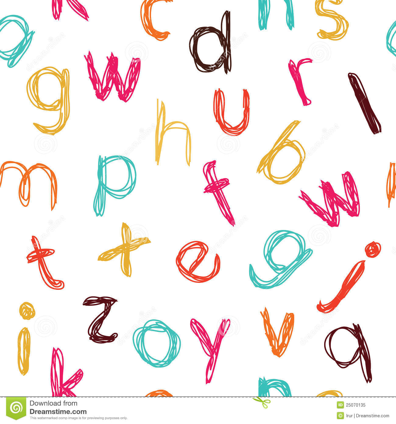 Seamless Childish Alphabet Pattern Stock Vector Illustration Of