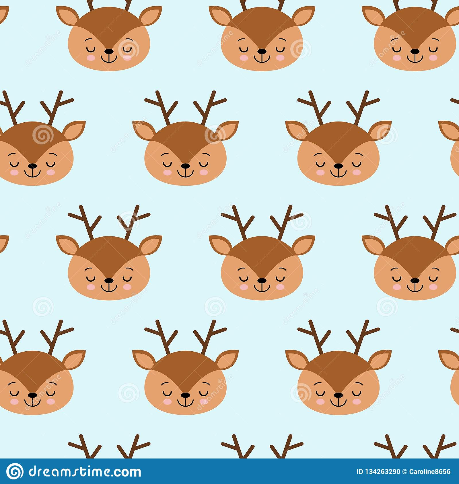 Seamless childish pattern with cute deer. Creative kids texture for fabric, wrapping, textile, wallpaper, apparel