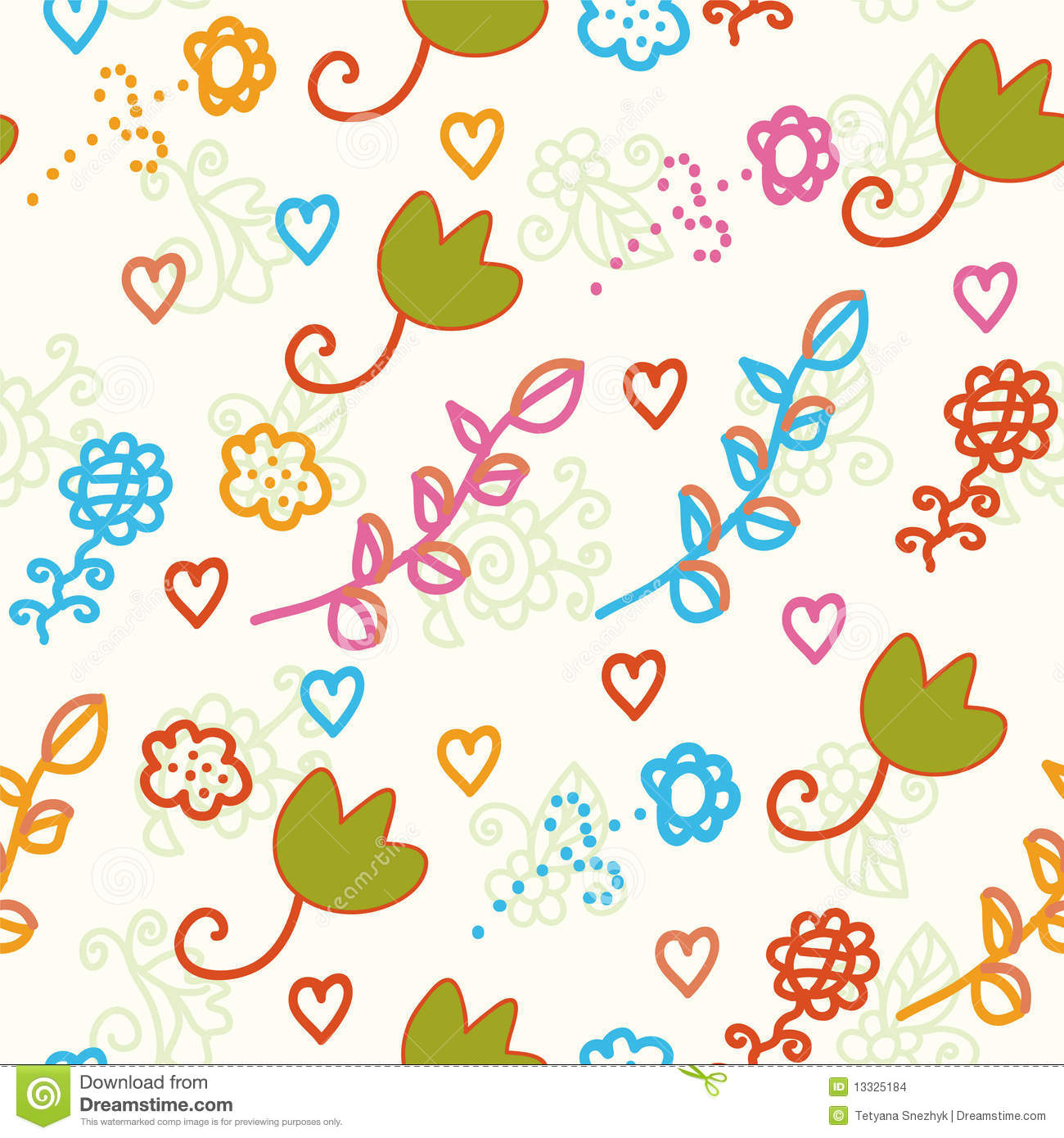 Seamless Childish Pattern With Flowers Stock Image