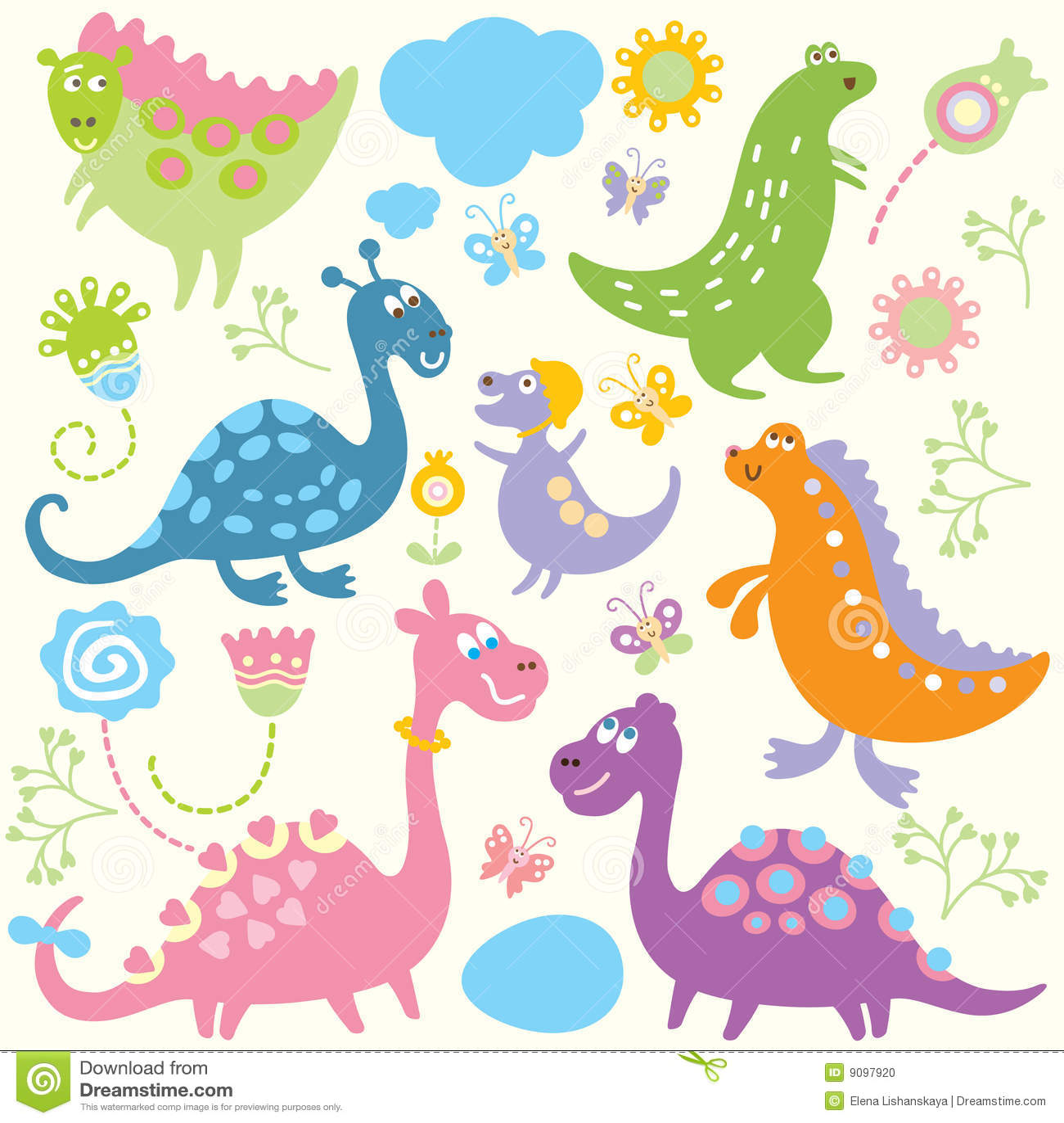Seamless childlike pattern - dinosaur