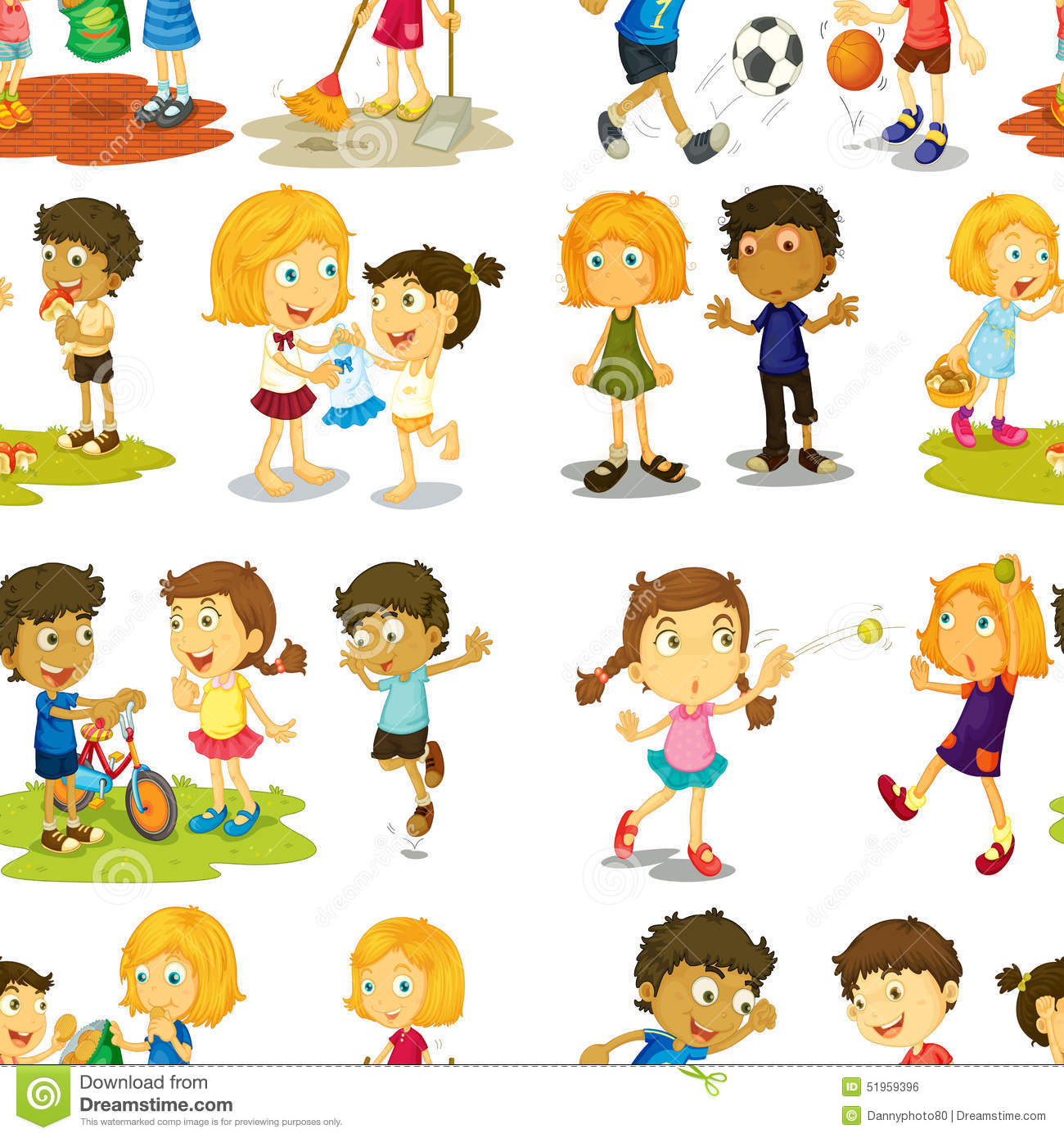 Seamless Children Stock Vector - Image: 51959396