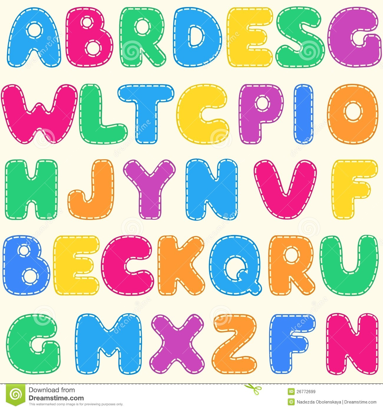Seamless Children's Bright Alphabet Pattern Royalty Free Stock ...