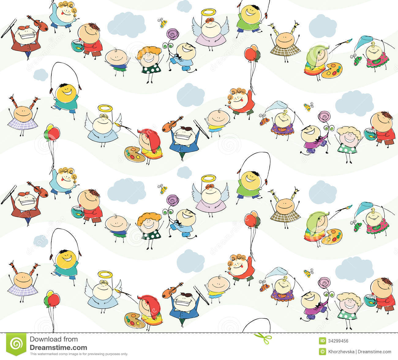 Seamless Children Wallpaper With Happy Kids Royalty Free