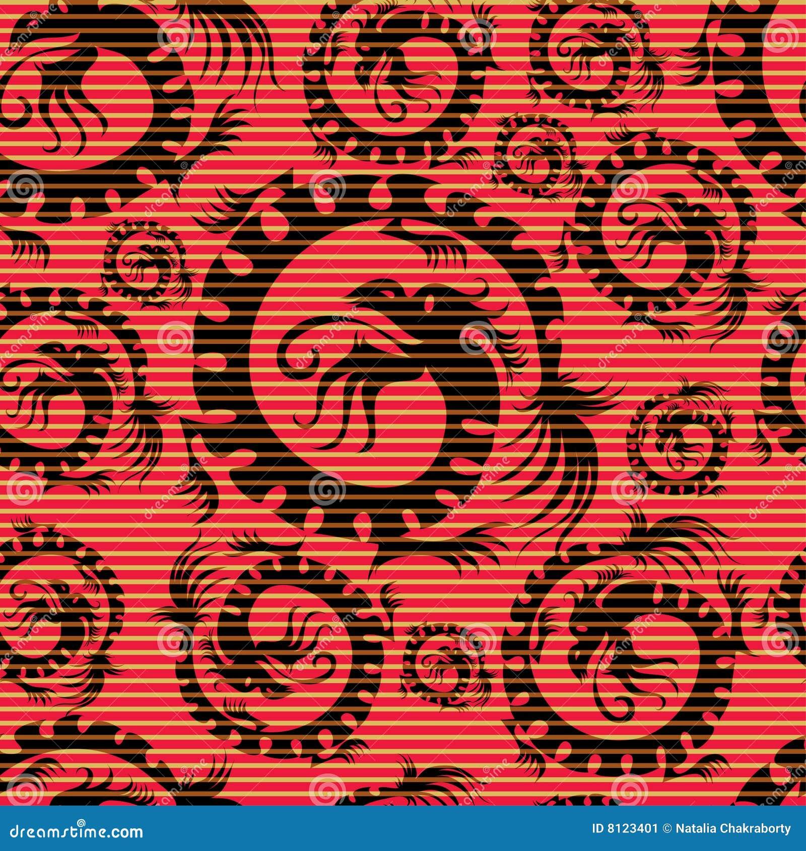 seamless chinese dragon pattern stock image