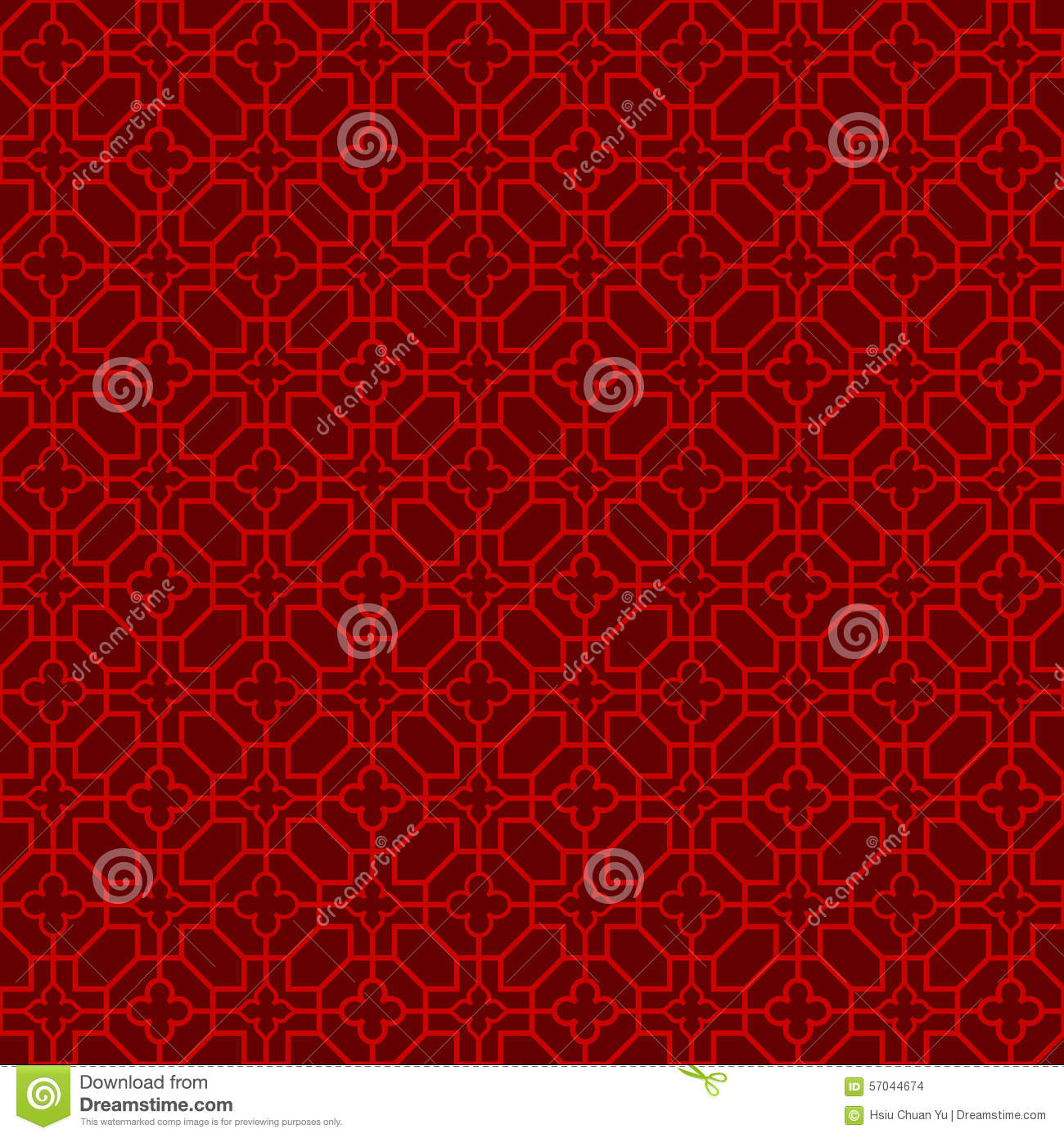Seamless Chinese Window Tracery Cross Flower Line Pattern