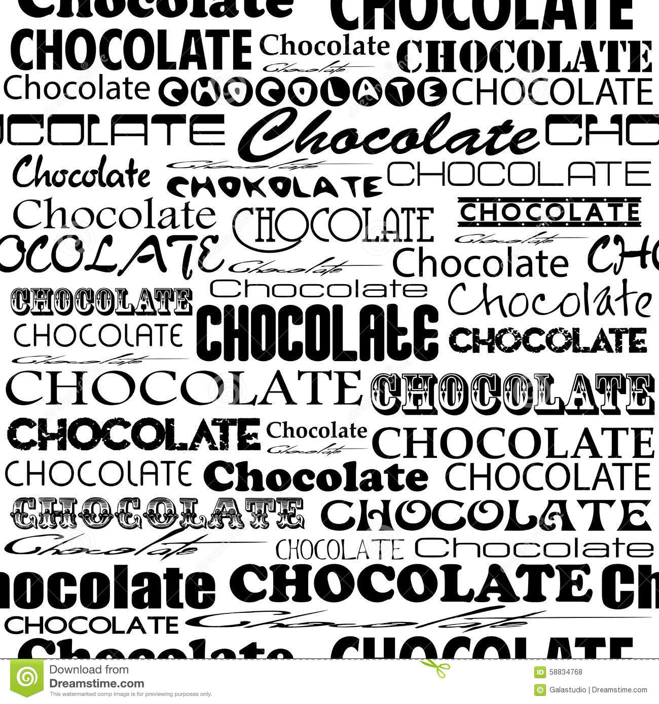 Seamless chocolate pattern with word of chocolate with Word font styles
