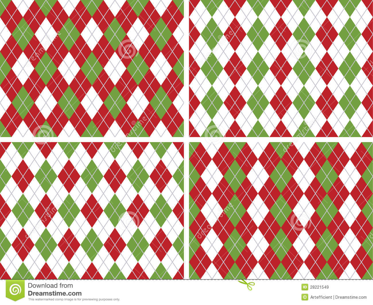 Seamless Christmas Argyle Patterns In Green And Red Royalty Free ...