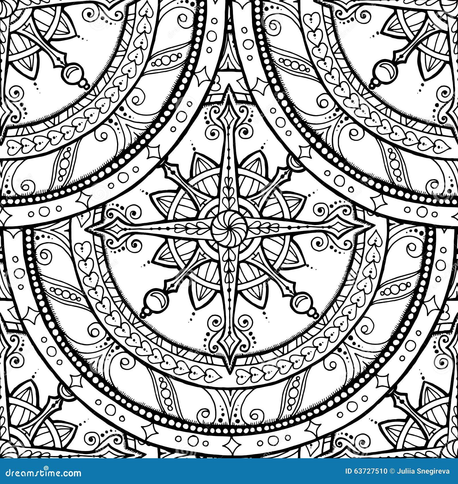 Seamless Christmas Mandala With Lace Snowflake. Stock
