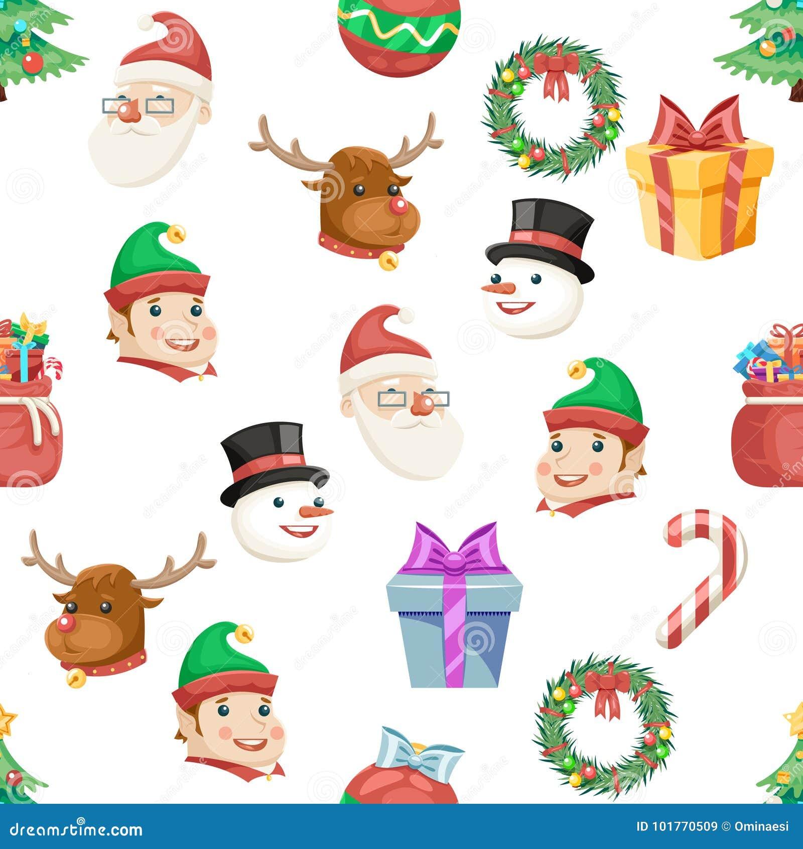 seamless christmas new year winter holiday xmas icons set cartoon design transparent background vector illustration