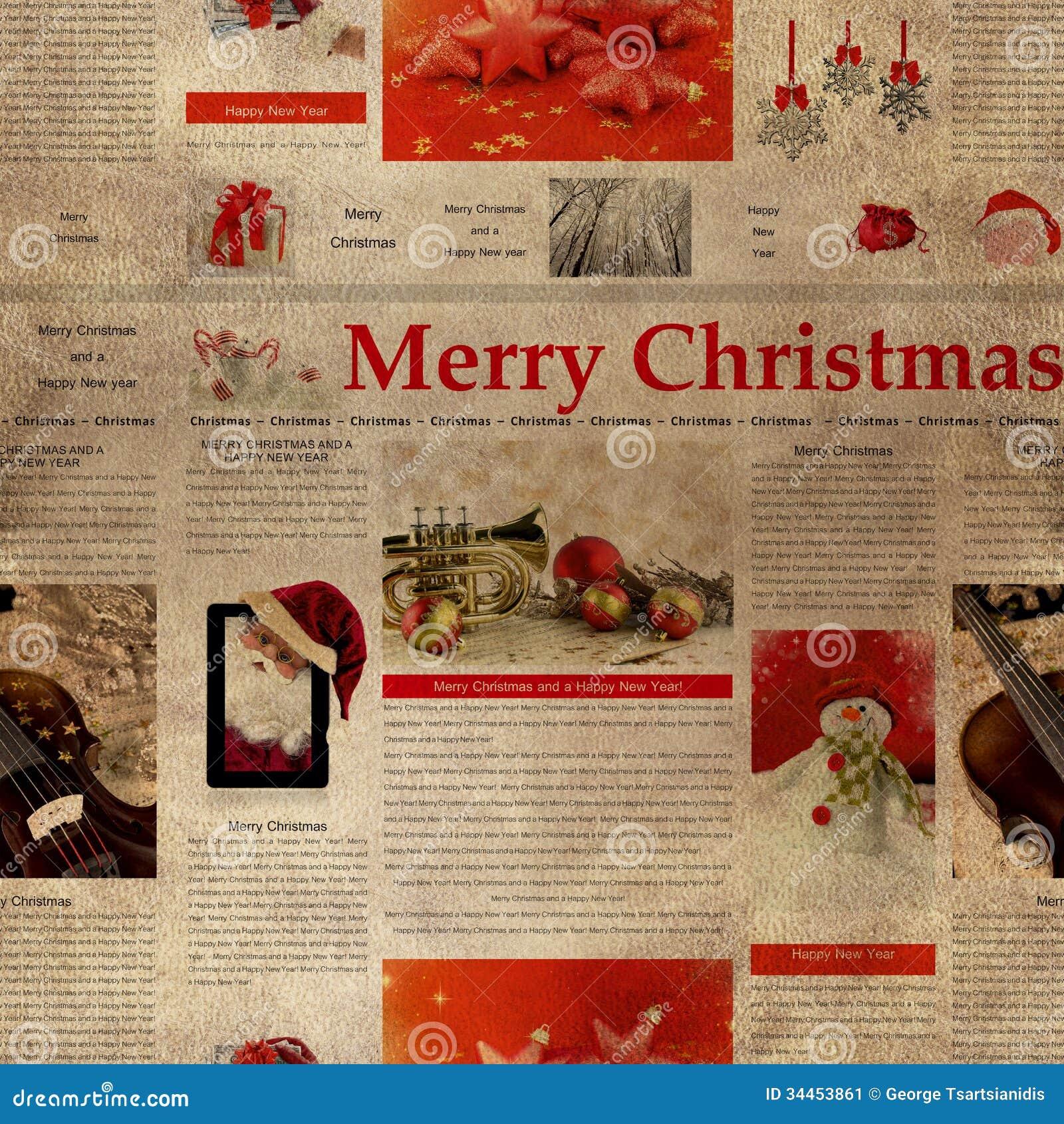 Seamless Christmas Newspaper Pattern Stock Illustration ...