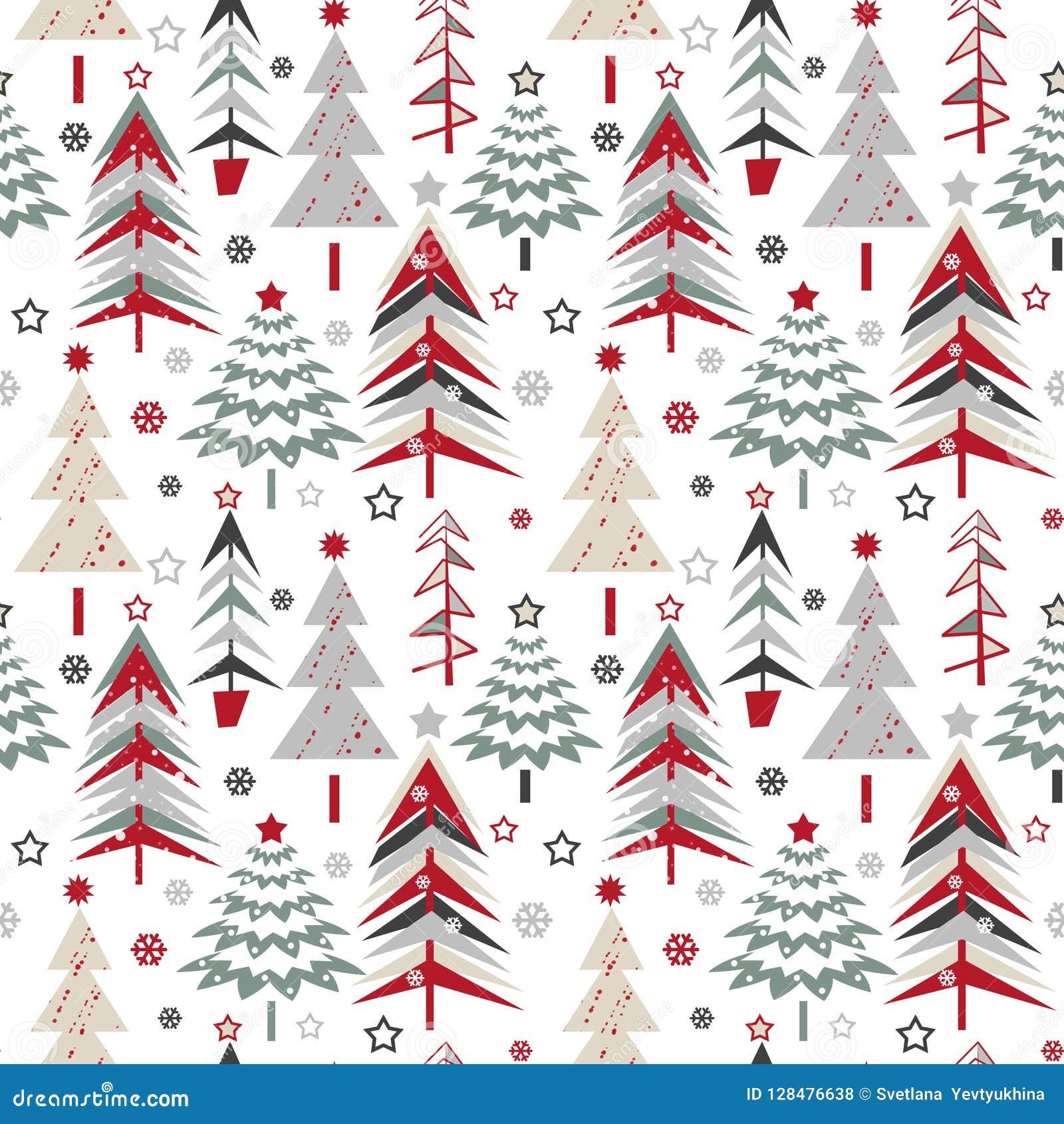 Seamless Christmas Pattern With Cartoon Christmas Trees On White ...