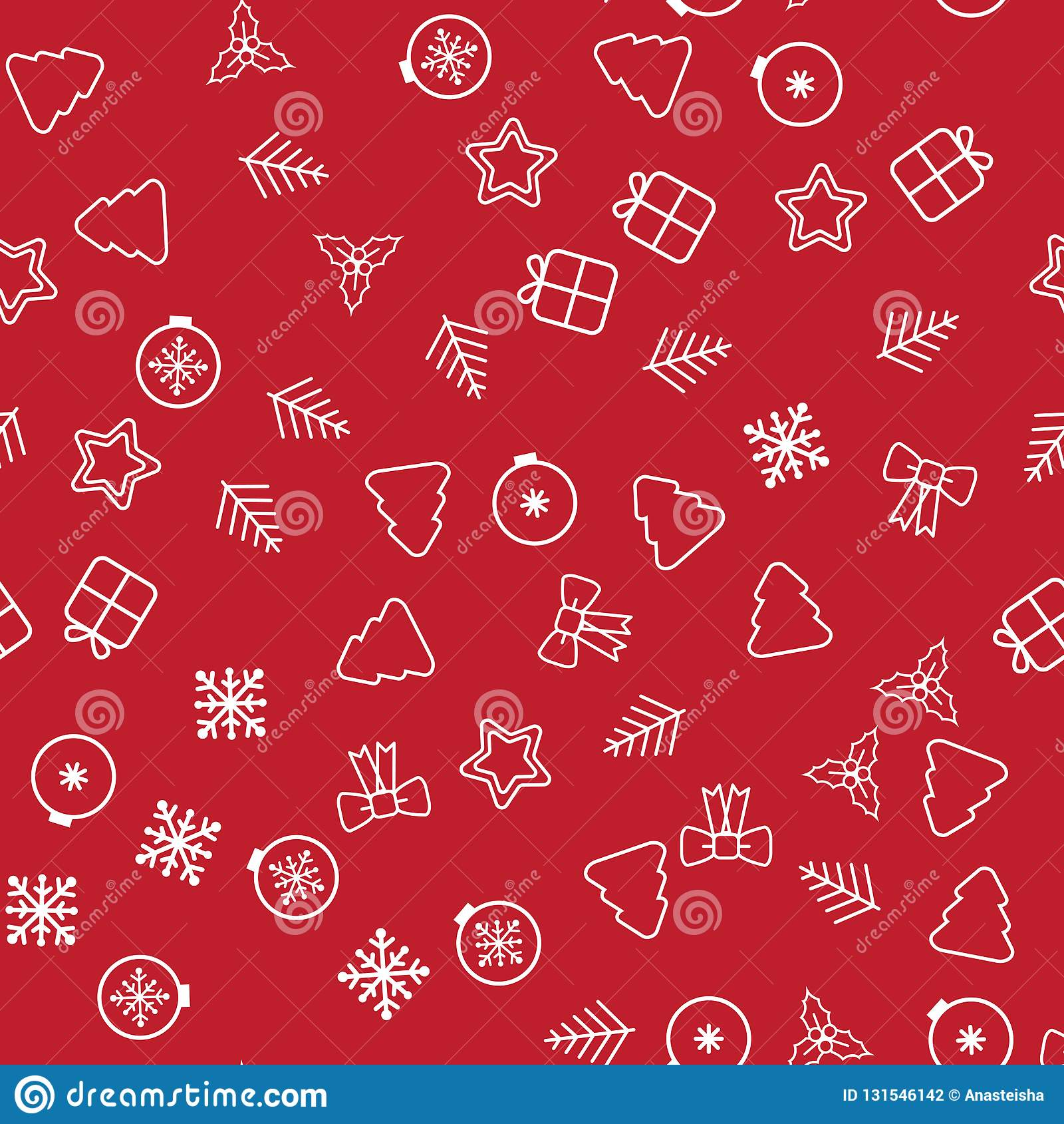Seamless Christmas pattern. Christmas pattern with decorative snowflakes, gift box, christmas tree, star, christmas balls on white. Background stock photography
