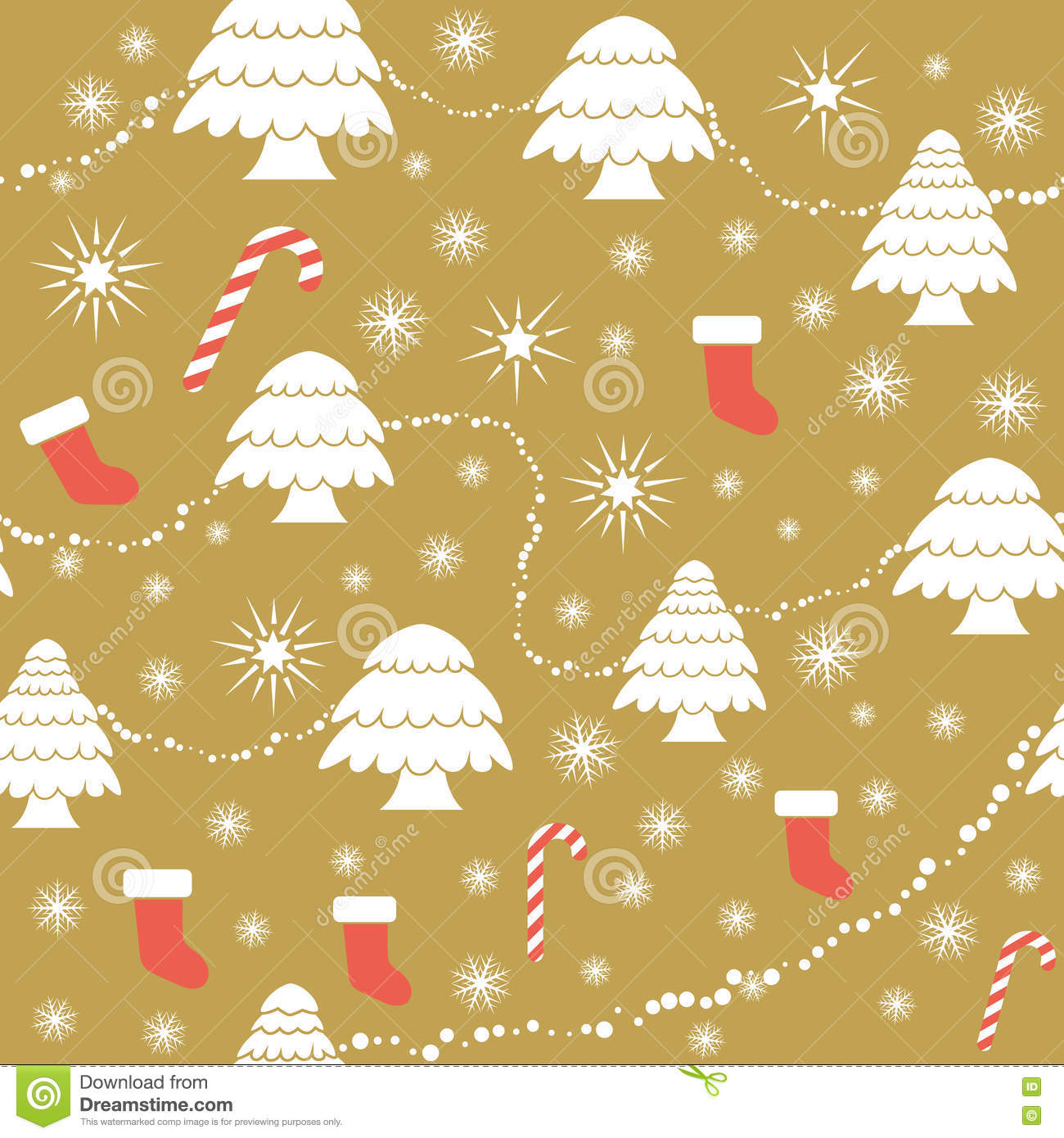Seamless Christmas Pattern In Flat Style Vector Christmas Tree Garland Ribbon Gifts Stock Vector Illustration Of Snow Seamless 79670746