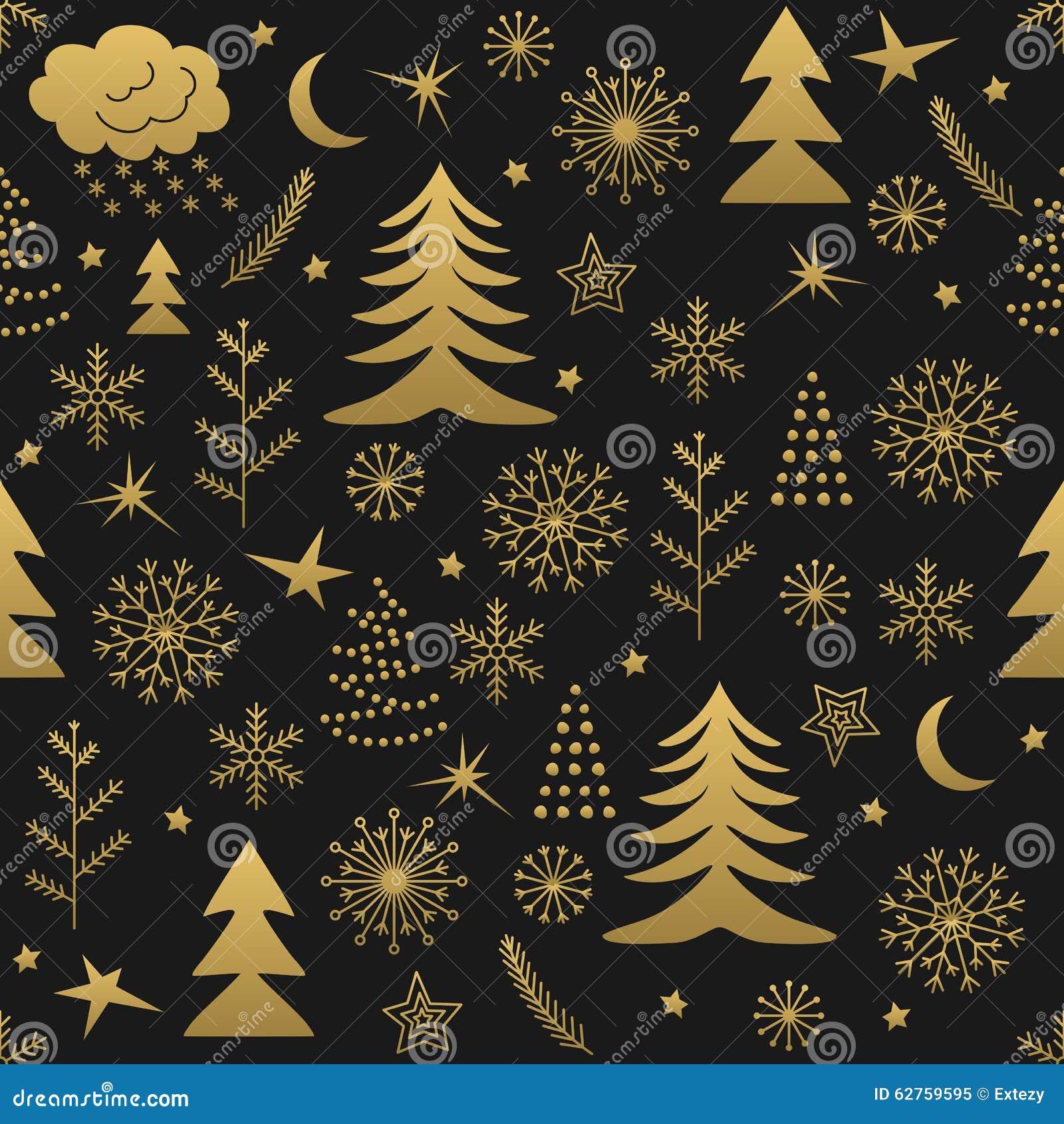 seamless christmas pattern gold stock photo