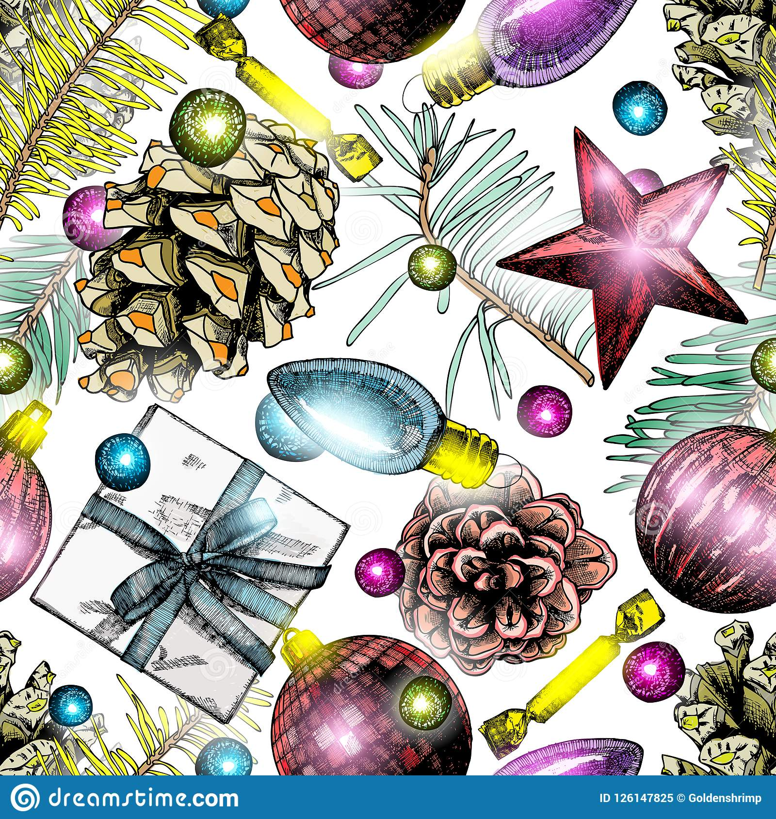 Seamless Christmas pattern. Hand drawn holiday elements in endle