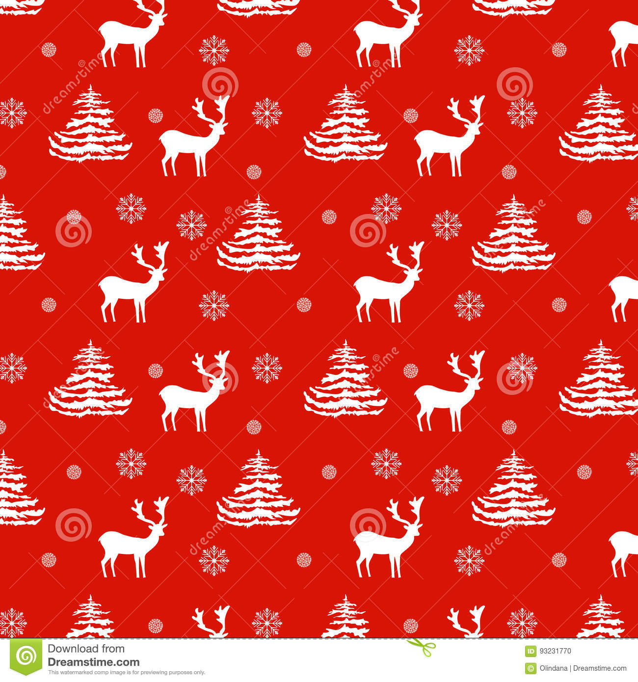 Seamless Christmas pattern hand drawn realistic reindeers, fir trees, snowflakes, white silhouette on red background