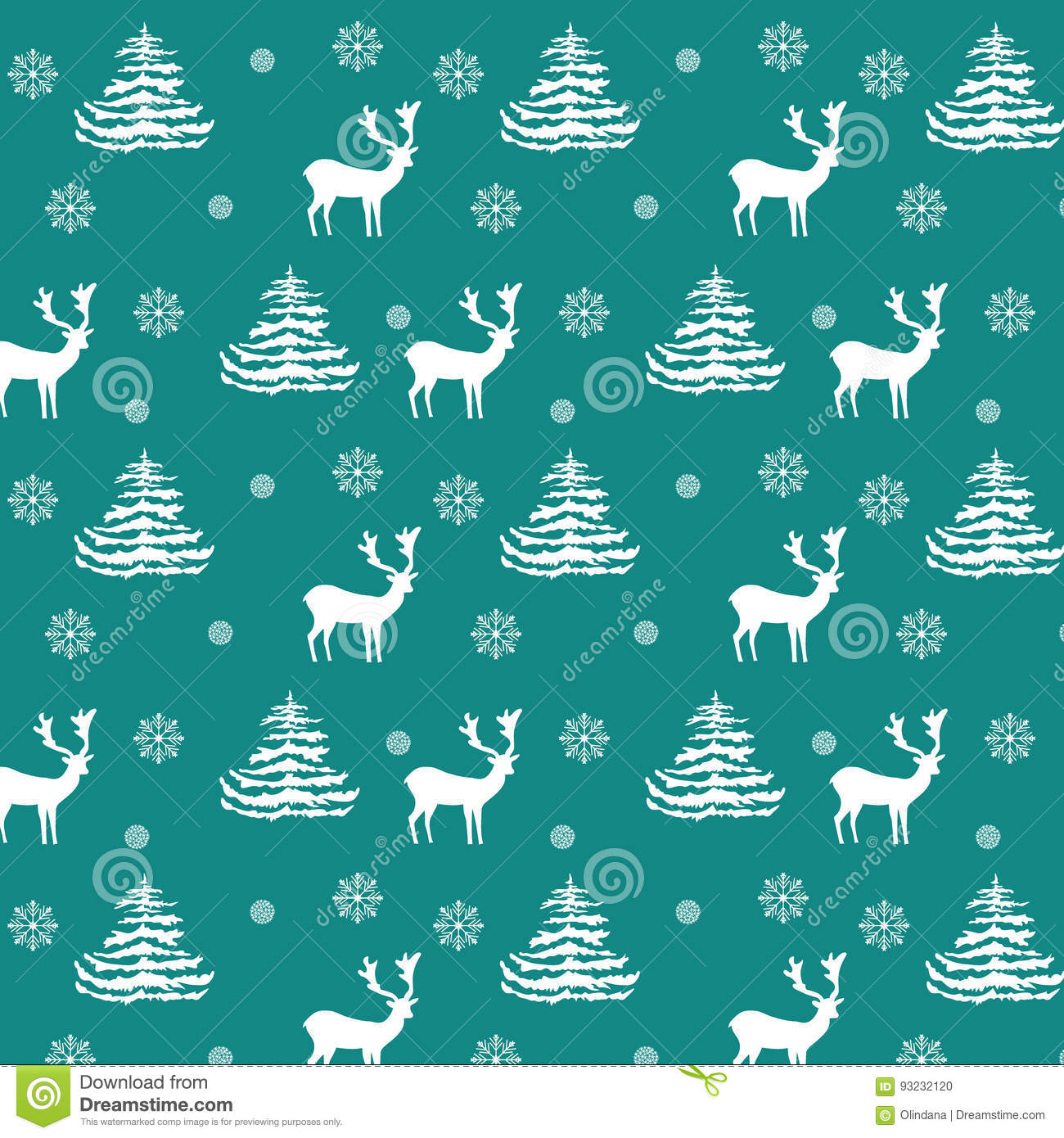 Seamless Christmas pattern hand drawn realistic reindeers, fir trees, snowflakes, white silhouette on turquoise background