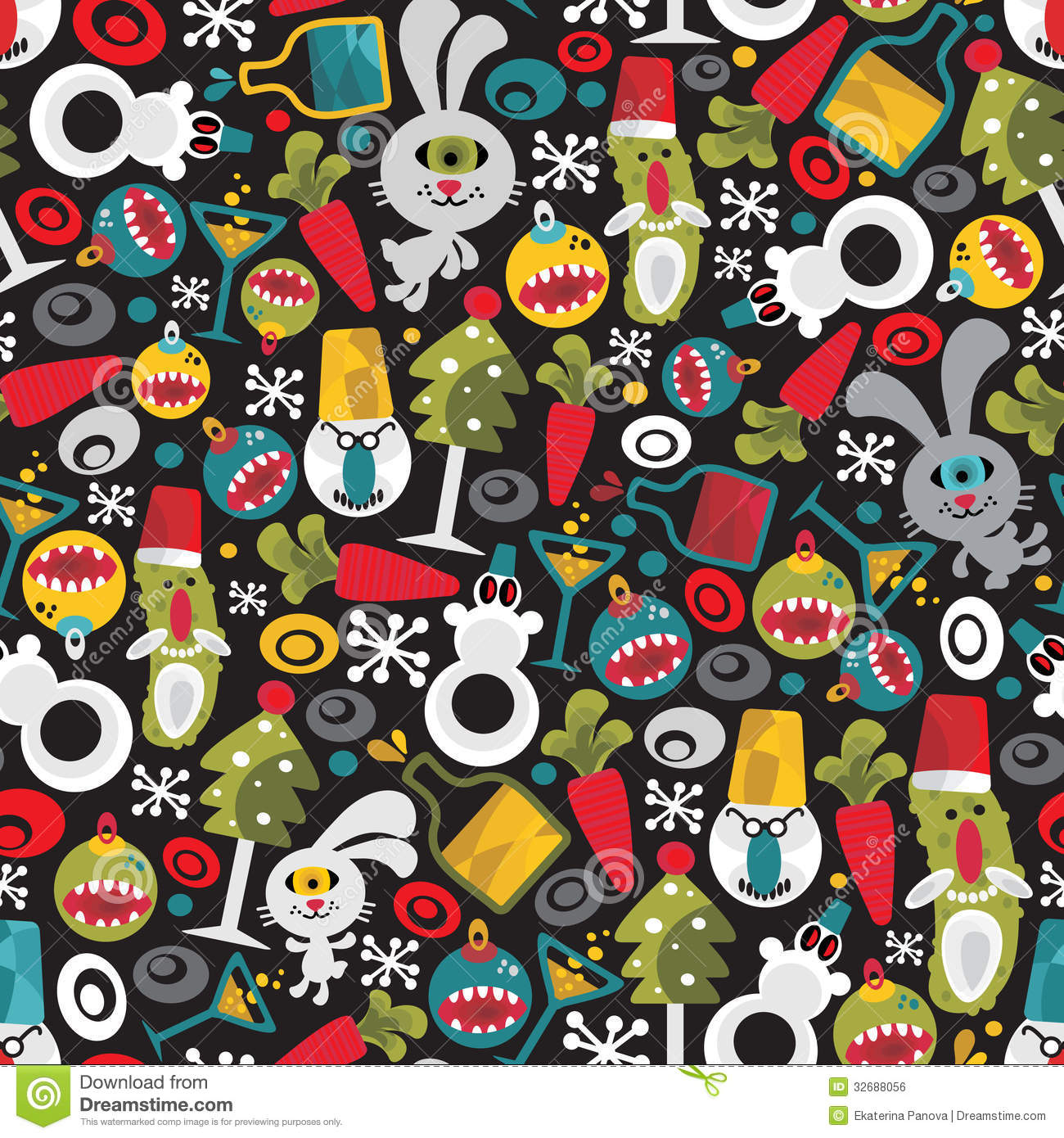 Christmas tree snow decoration - Seamless Christmas Pattern With Monsters Royalty Free Stock Image
