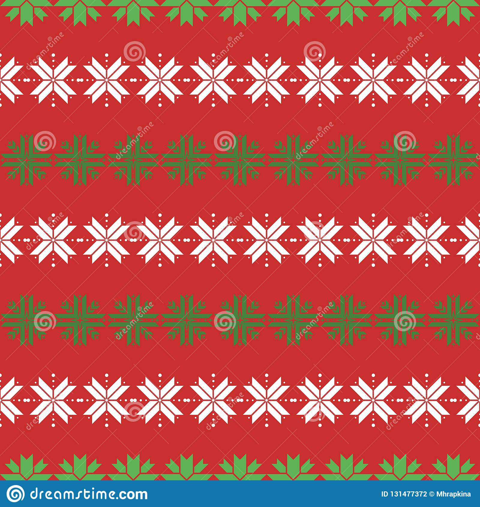 b0df827b08a0 Seamless christmas pattern with snowflakes. traditional sweater pattern  with white and geen geometric snowflakes on red background