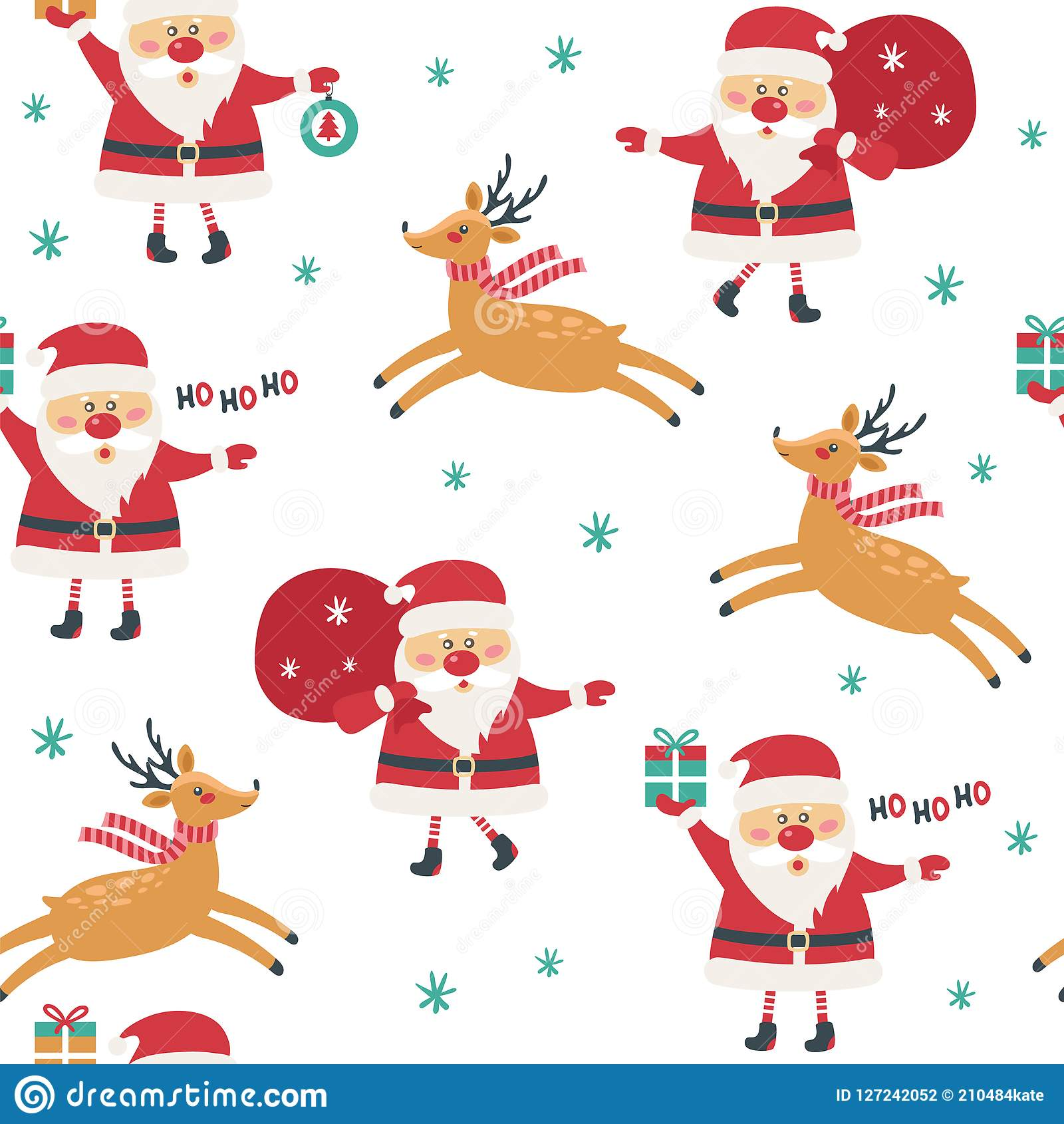 Seamless Christmas pattern on white background with santa claus.