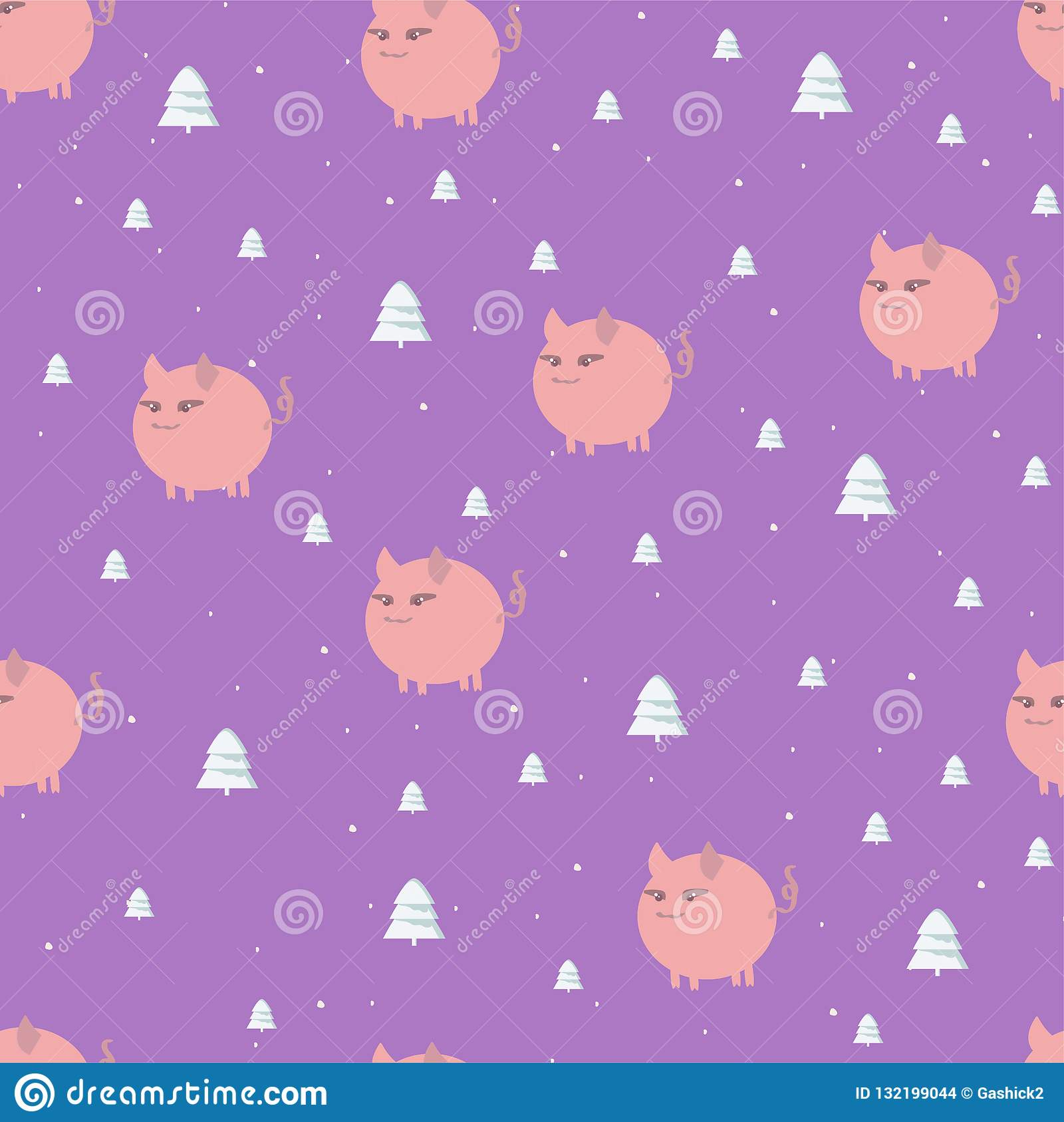Seamless Christmas pattern with white pink piglets and forest trees on a bright purple square