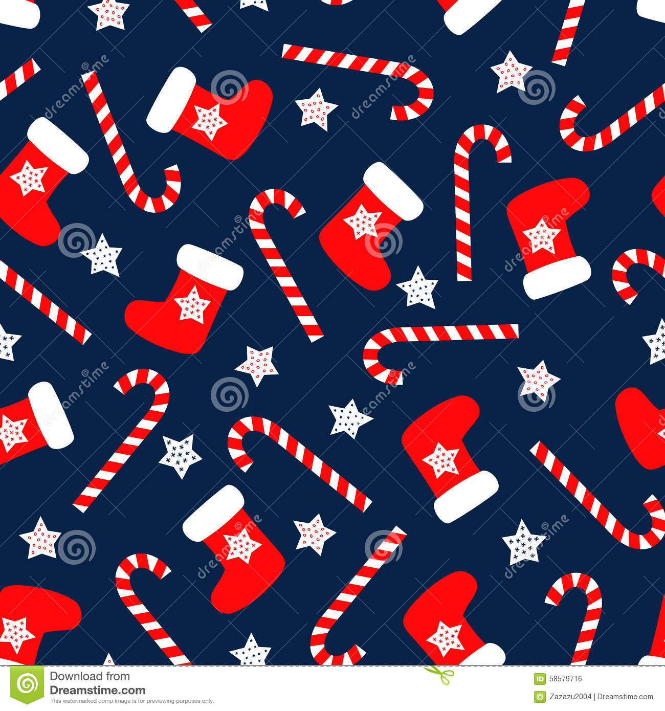Seamless Christmas Pattern With Xmas Socks Stars And Candy Canes Stock Vector Illustration Of Greeting Pattern 58579716