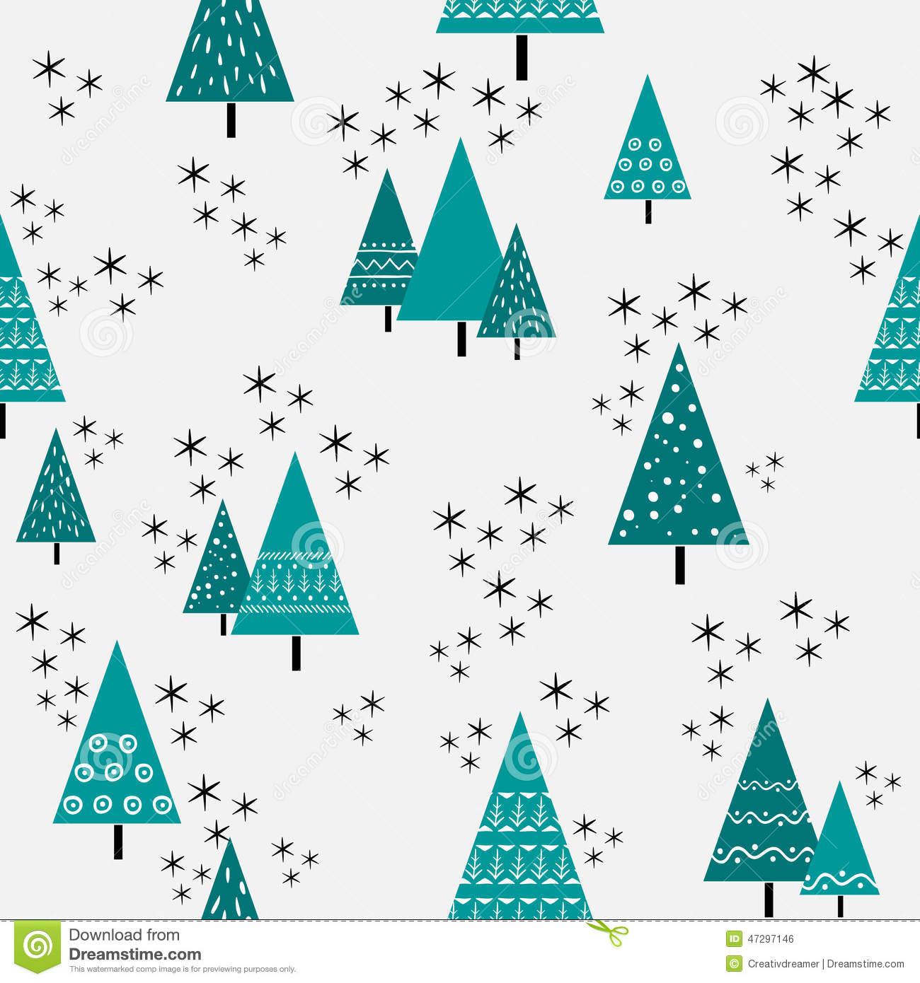 Christmas Tree Pattern.Seamless Christmas Tree Pattern In Flat Style Vector Stock