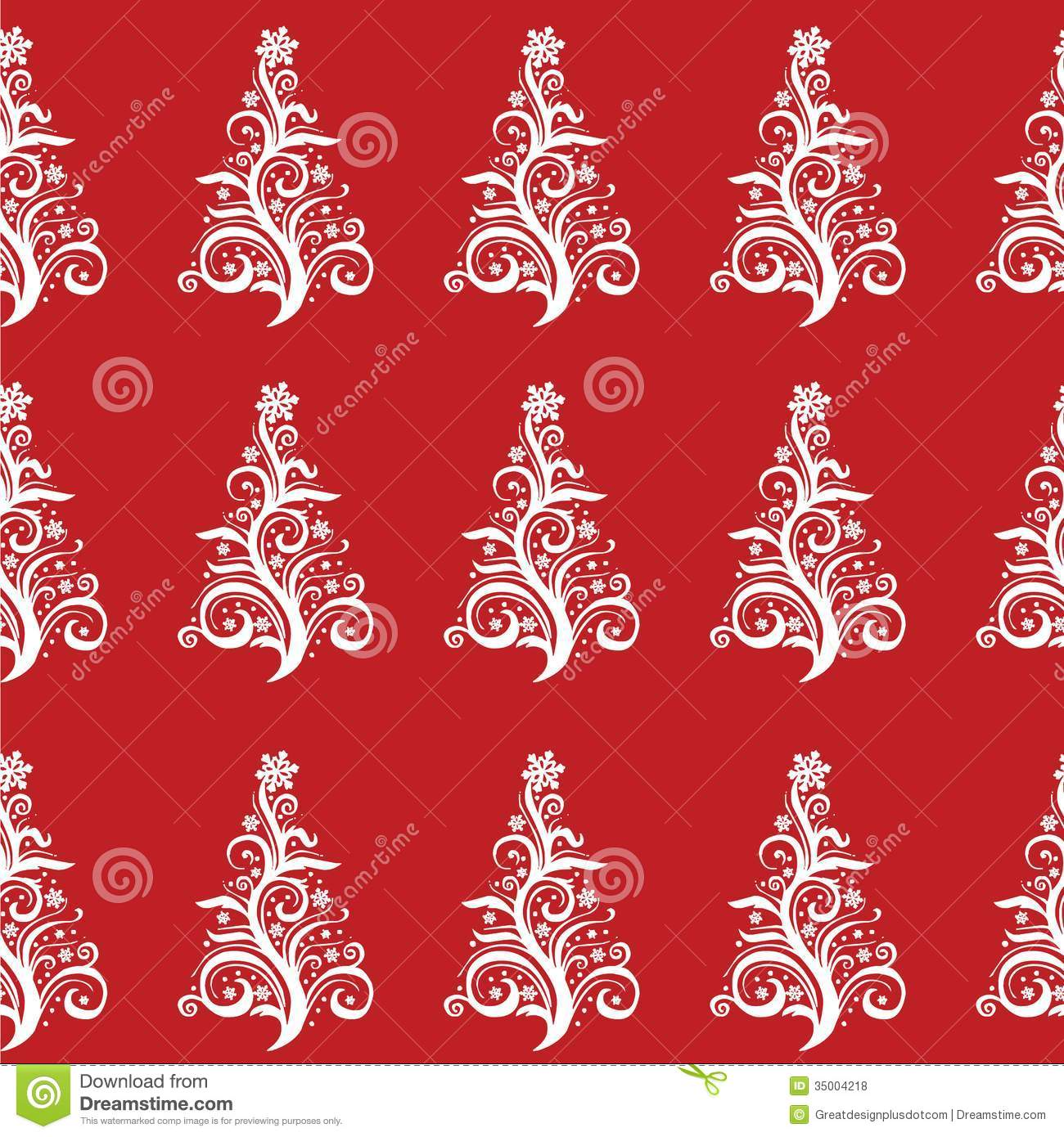 ... of white christmas trees on a red background. Vector eps10 / clip art