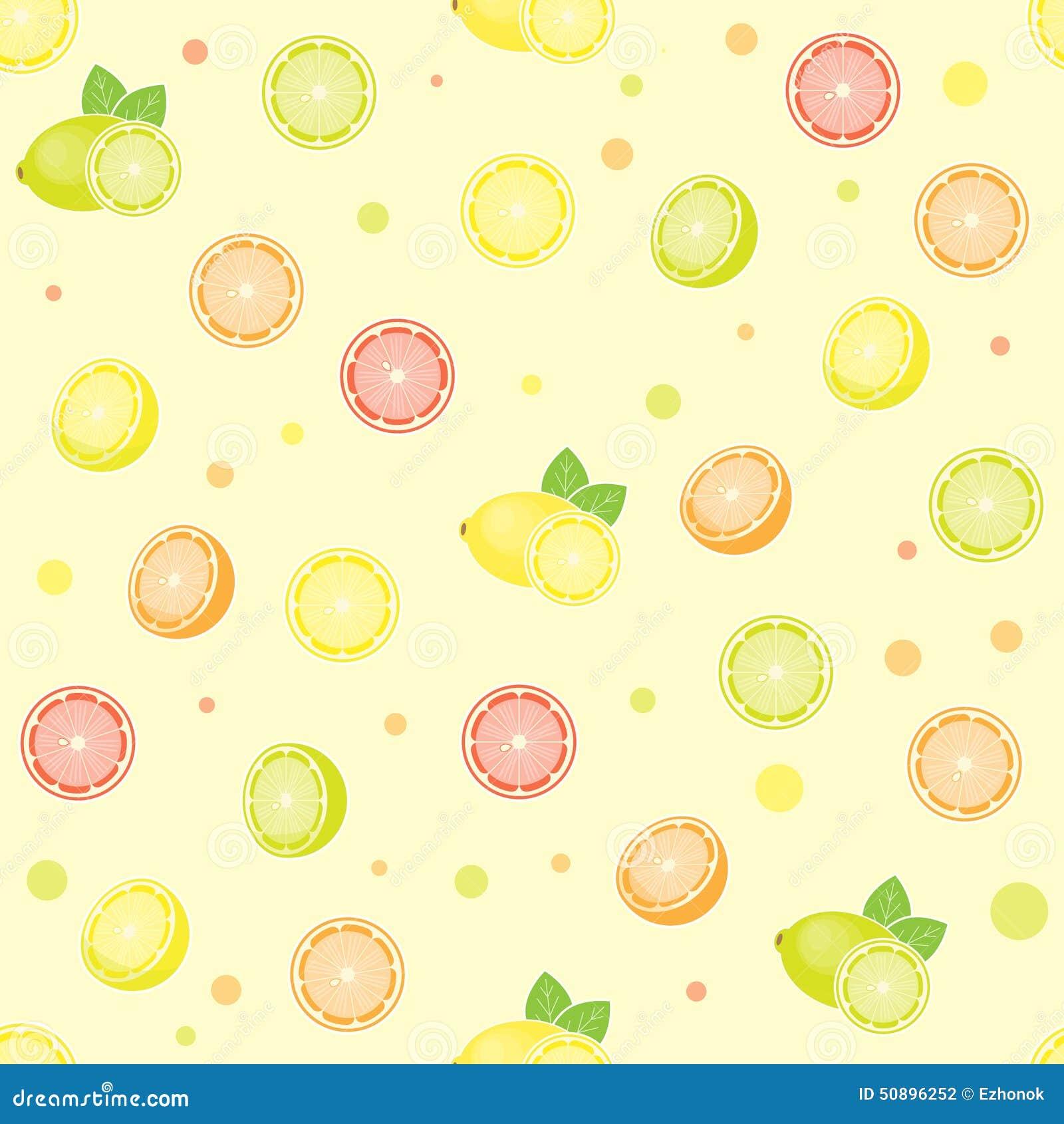Seamless Citrus Pattern Stock Vector