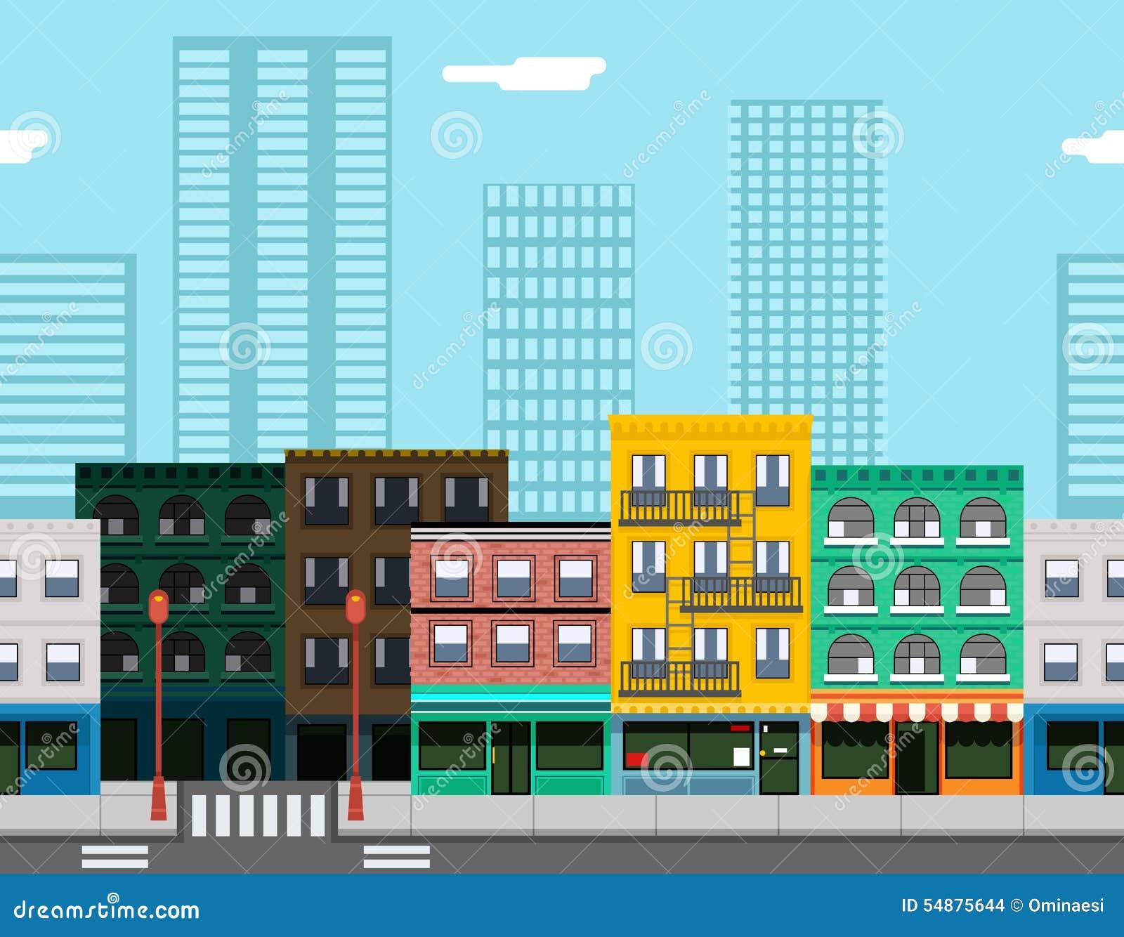 Town Landscape Vector Illustration: Seamless City Street Concept Flat Design Town Stock Vector