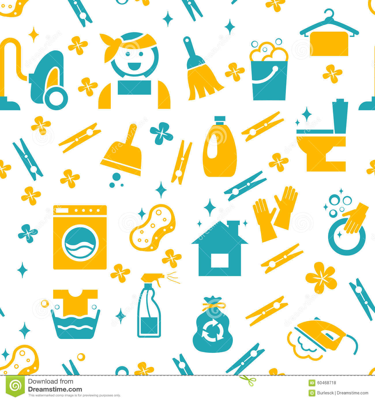 Seamless Cleaning Pattern Stock Vector Image Of Element