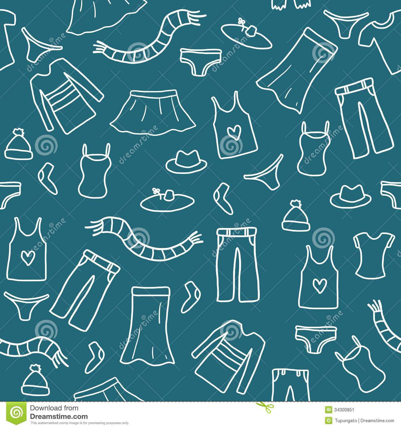 Seamless clothes doodle stock vector. Image of clothing