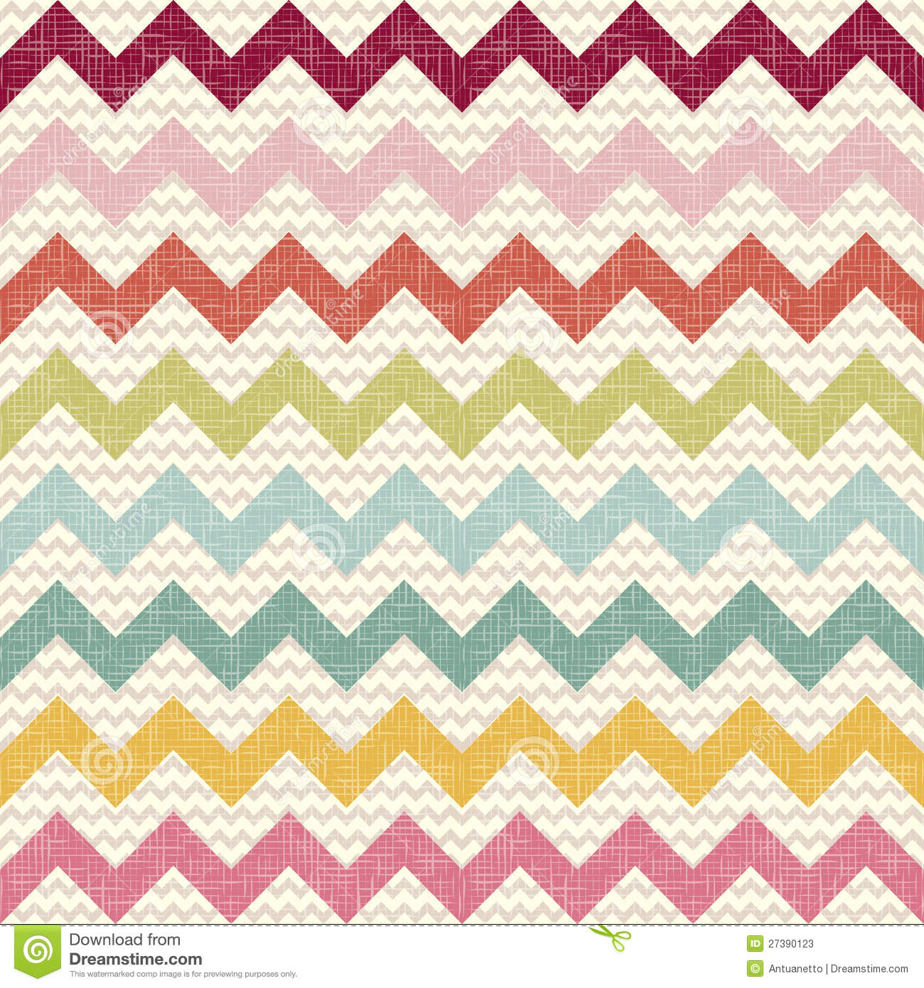 Seamless Color Chevron Pattern On Linen Texture Stock ...