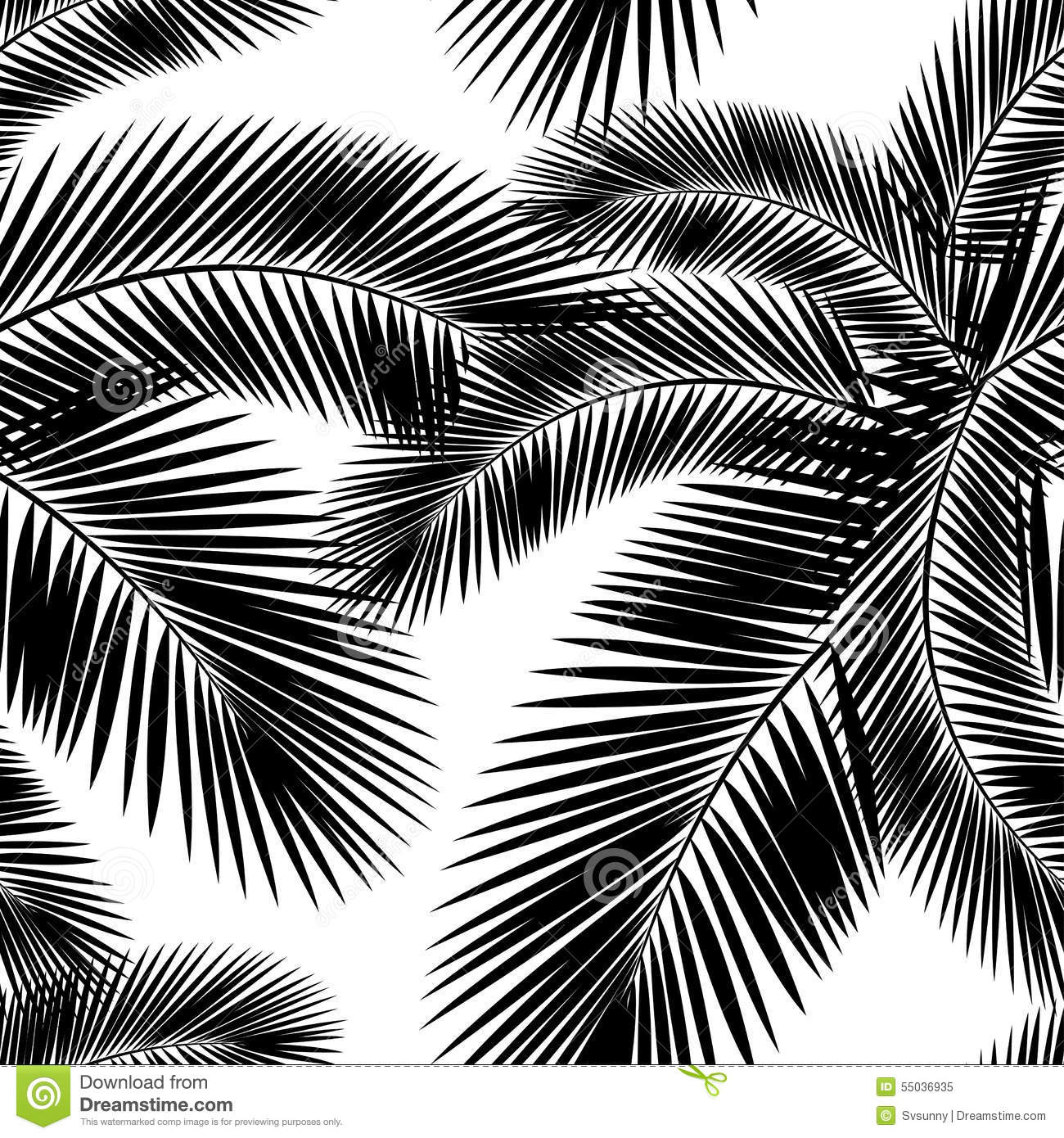 Seamless Color Palm Leaves Pattern Flat Style Black And