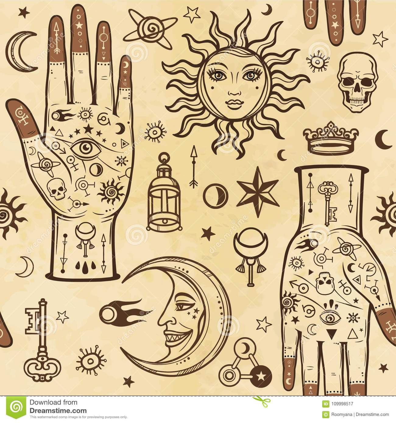 Seamless Color Pattern Human Hands In Tattoos Alchemical Symbols