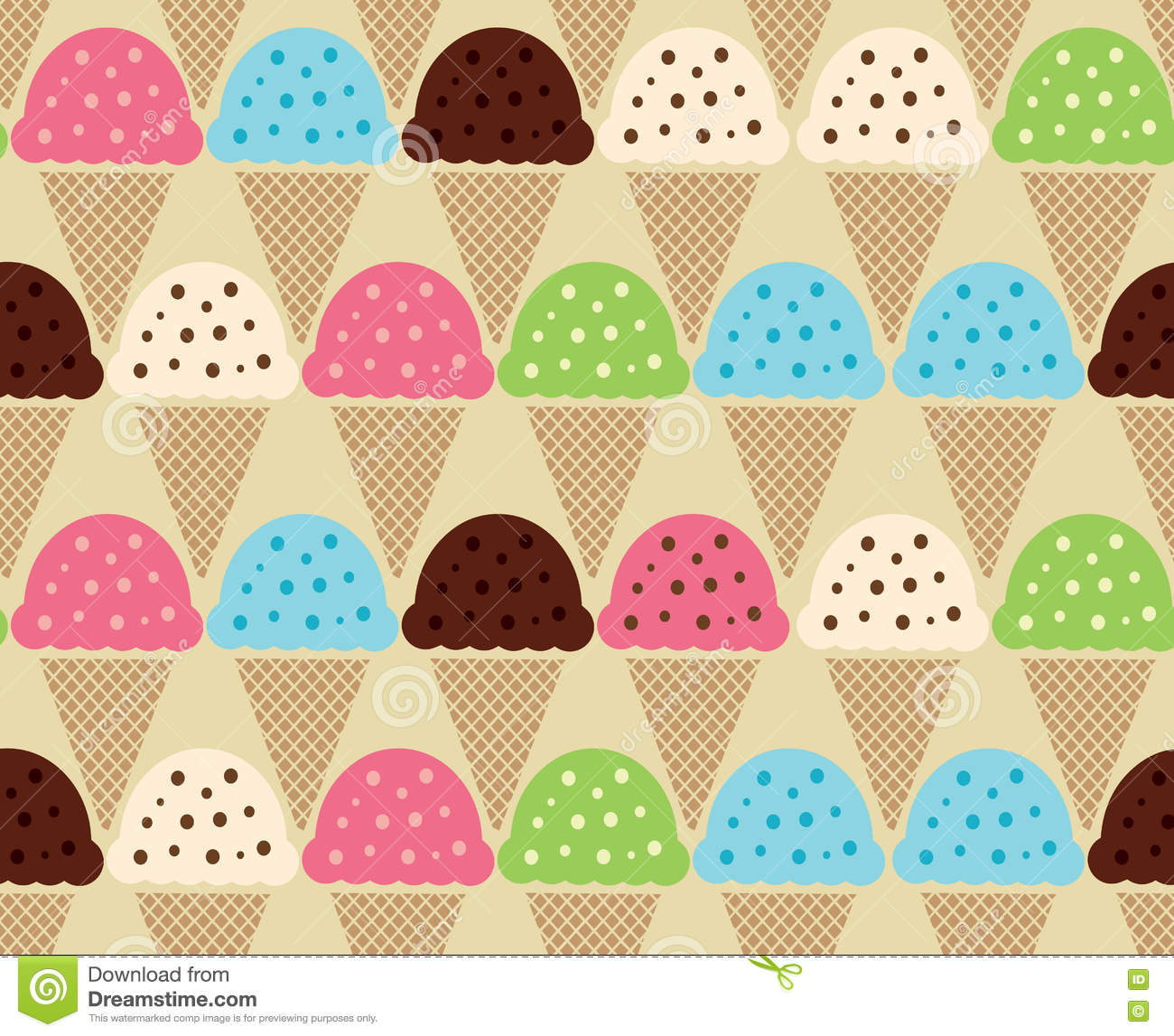 Seamless Wallpaper Pattern With Ice Cream Icons Stock: Seamless Color Pattern Of Ice Cream Background Stock